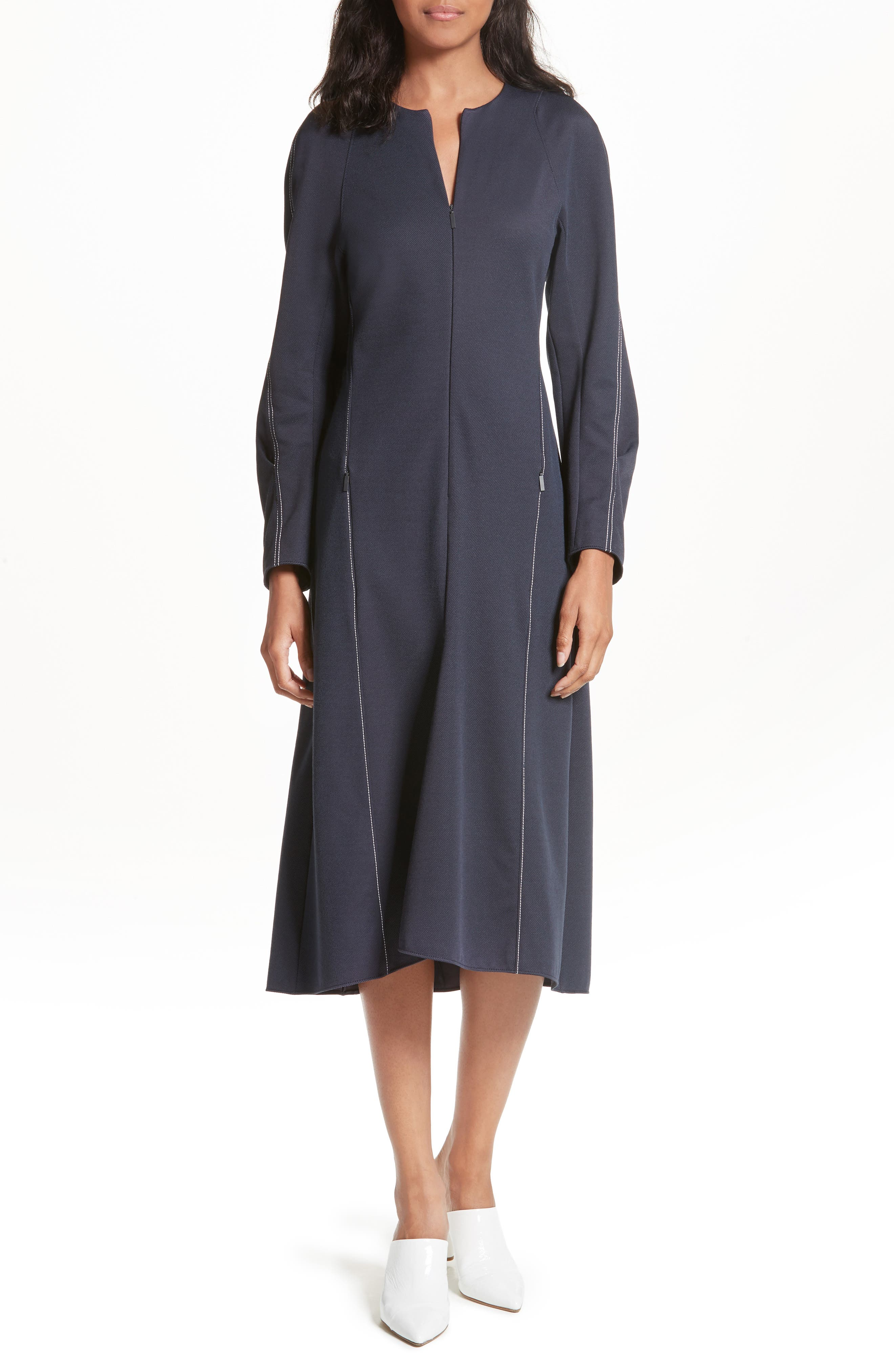 Sculpted Stretch Twill Midi Dress,                             Main thumbnail 1, color,                             Navy