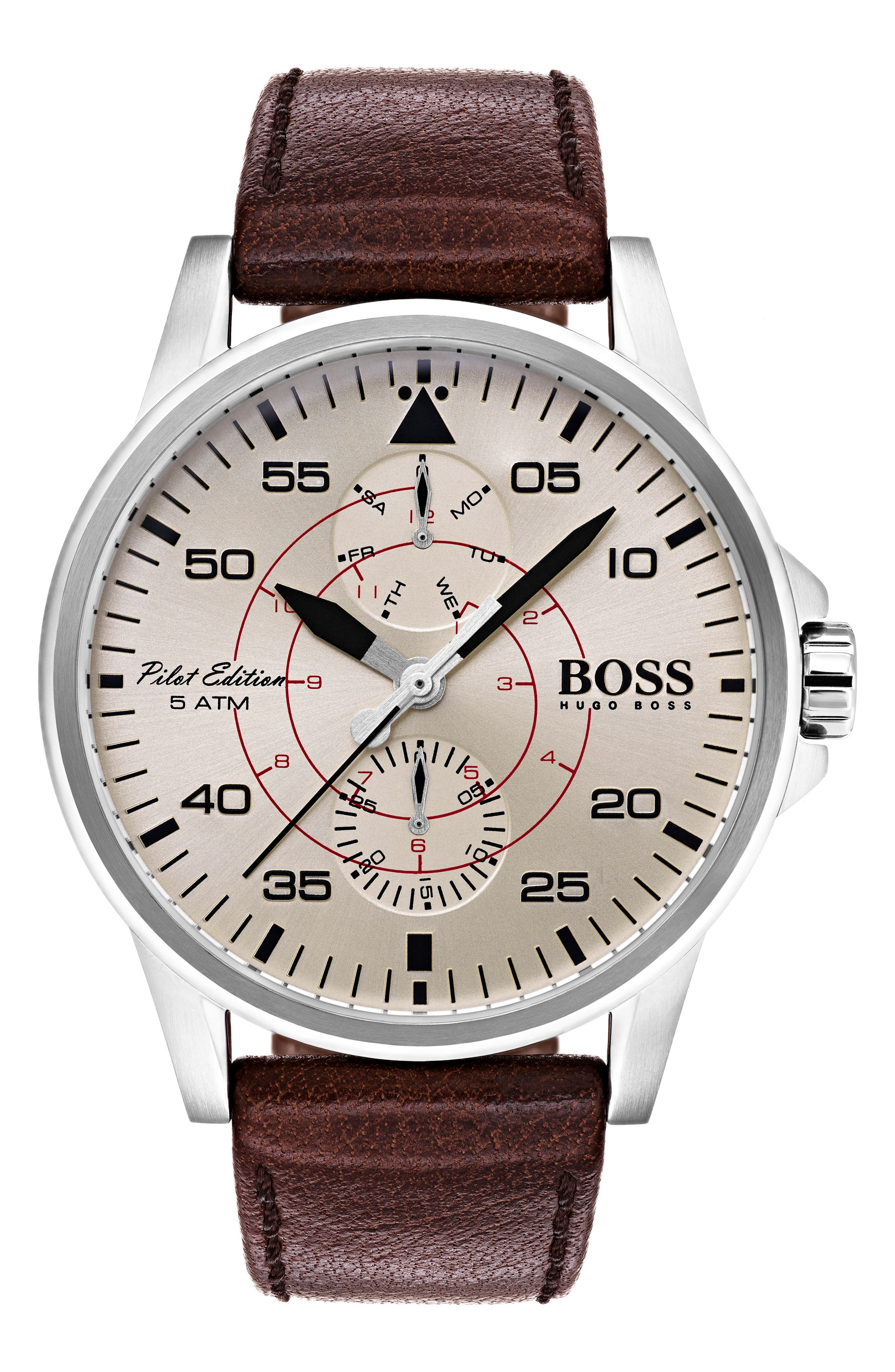 BOSS Aviator Multifunction Leather Strap Watch, 44mm,                         Main,                         color, Parchment/ Brown