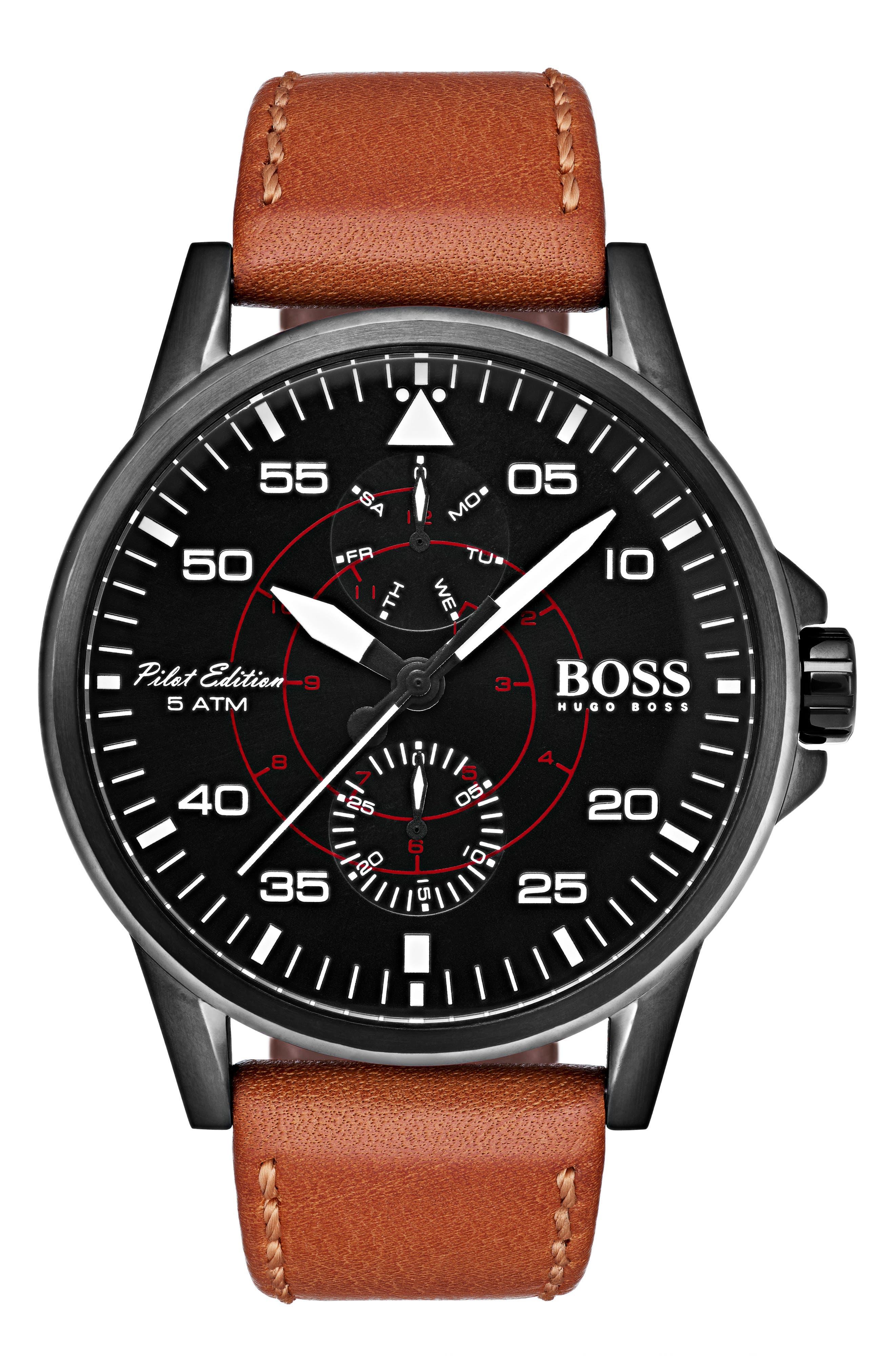 HUGO Aviator Multifunction Leather Strap Watch, 44mm