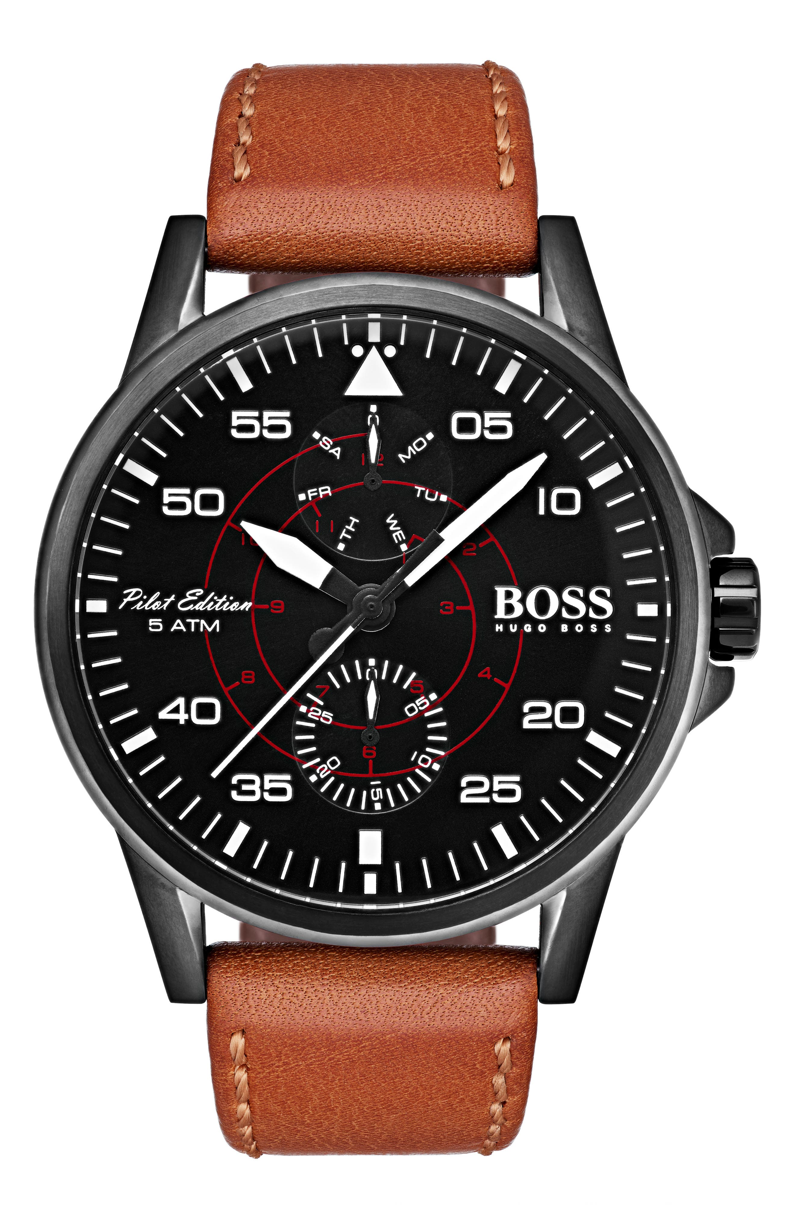 HUGO Aviator Multifunction Leather Strap Watch, 44mm