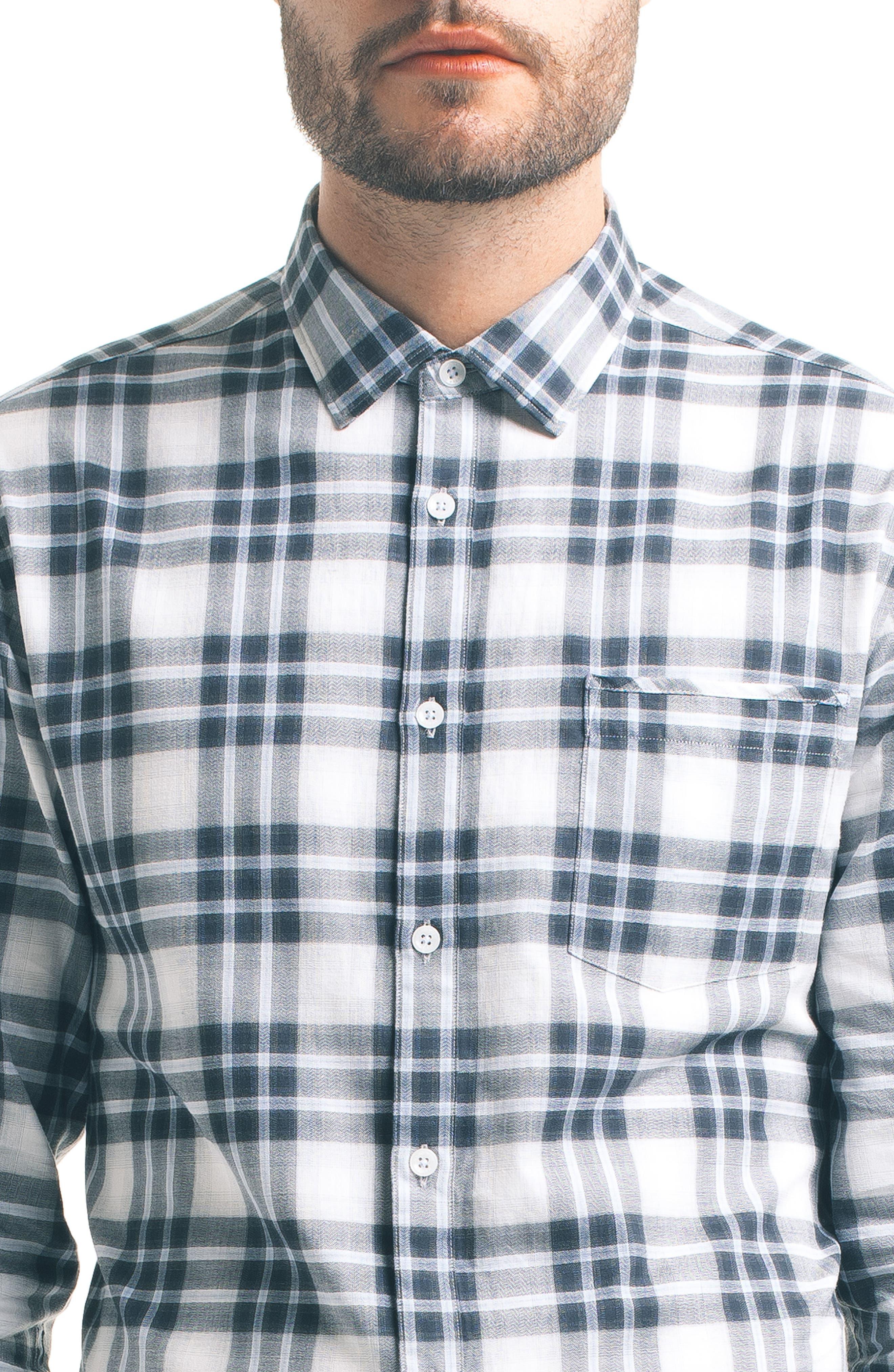 Slim Fit Plaid Sport Shirt,                             Alternate thumbnail 4, color,                             White