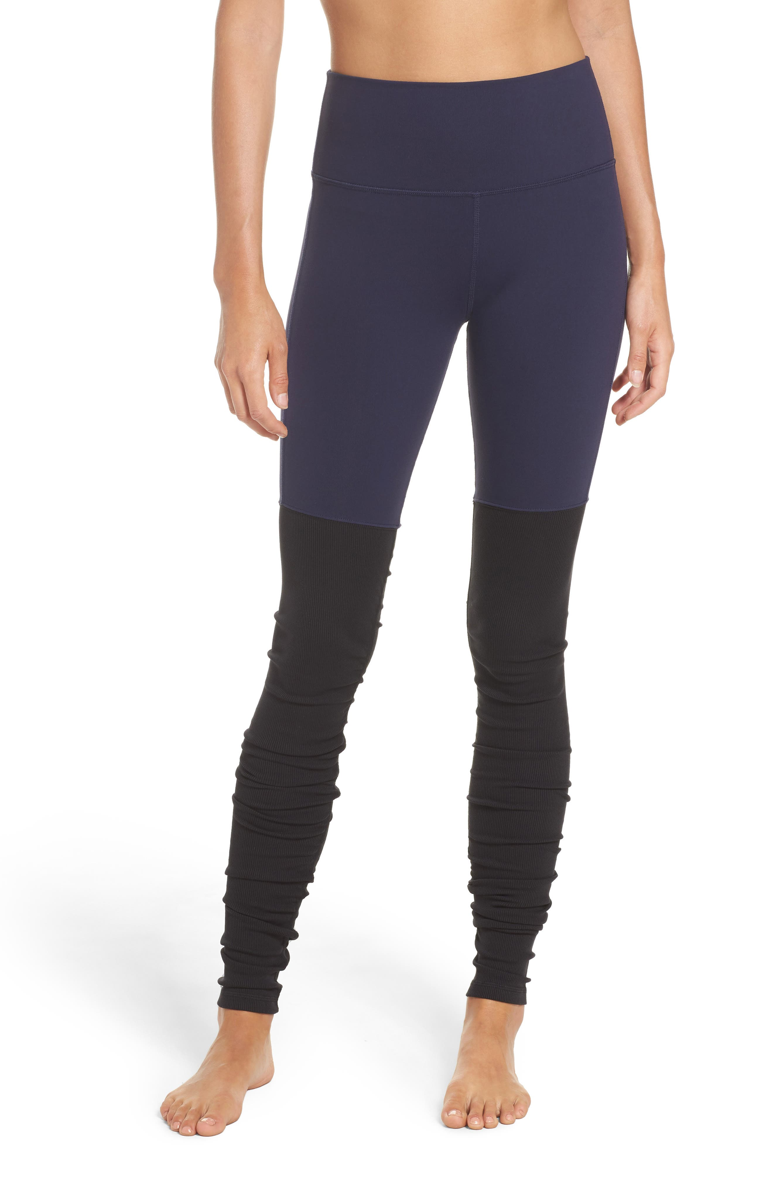 Goddess Ribbed Leggings,                         Main,                         color, Rich Navy/ Black