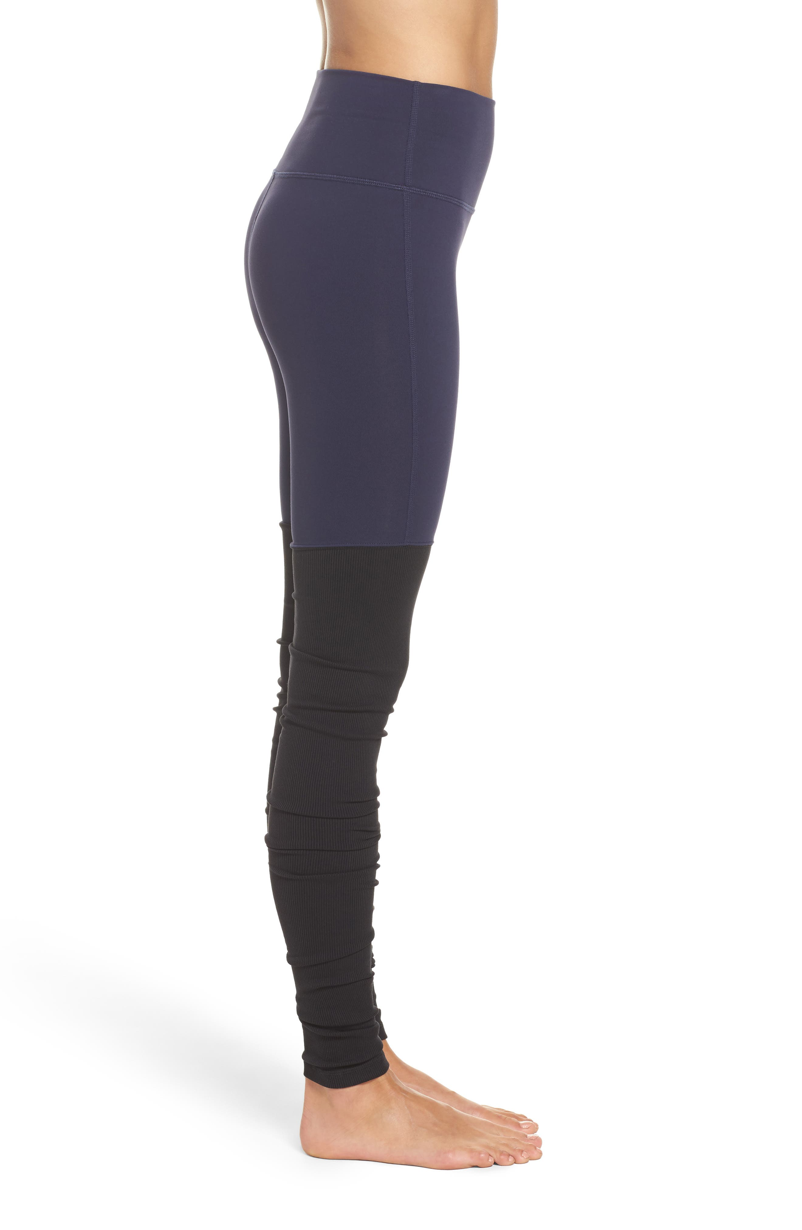 Goddess Ribbed Leggings,                             Alternate thumbnail 3, color,                             Rich Navy/ Black