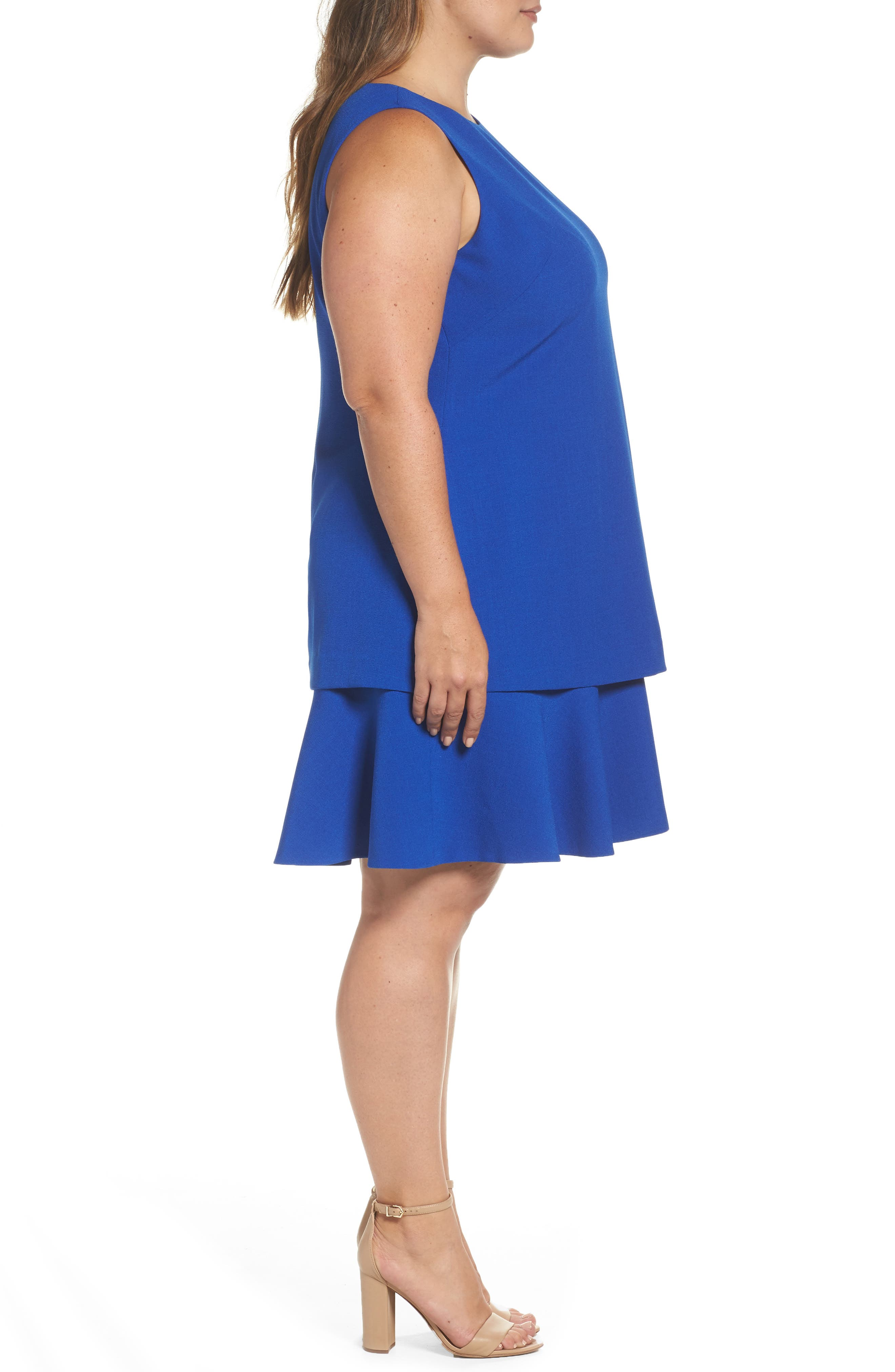 Alternate Image 4  - Eliza J Tiered Drop Waist A-Line Dress (Plus Size)