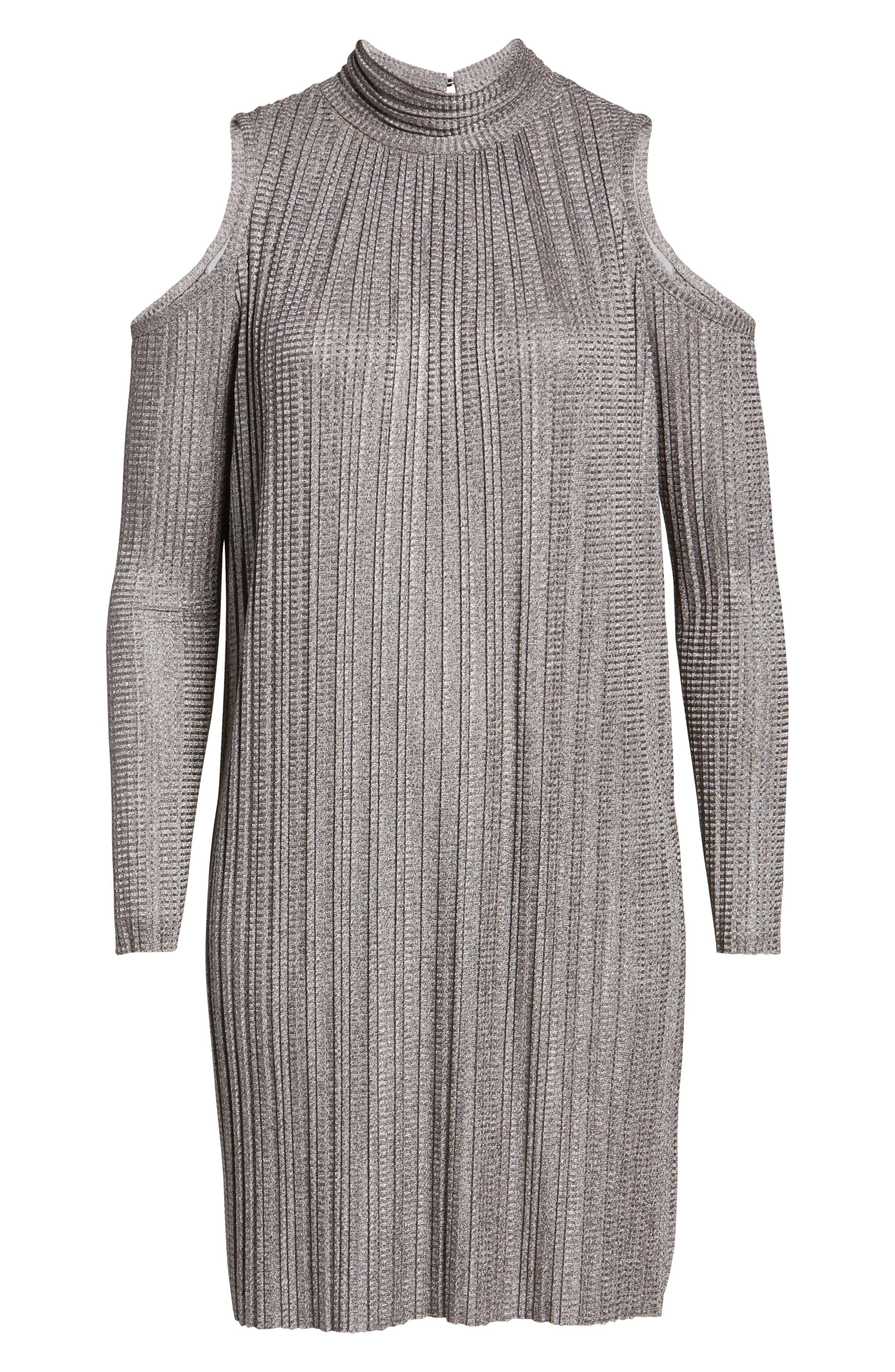 Alternate Image 6  - Maggy London Cold Shoulder Pleated Shift Dress