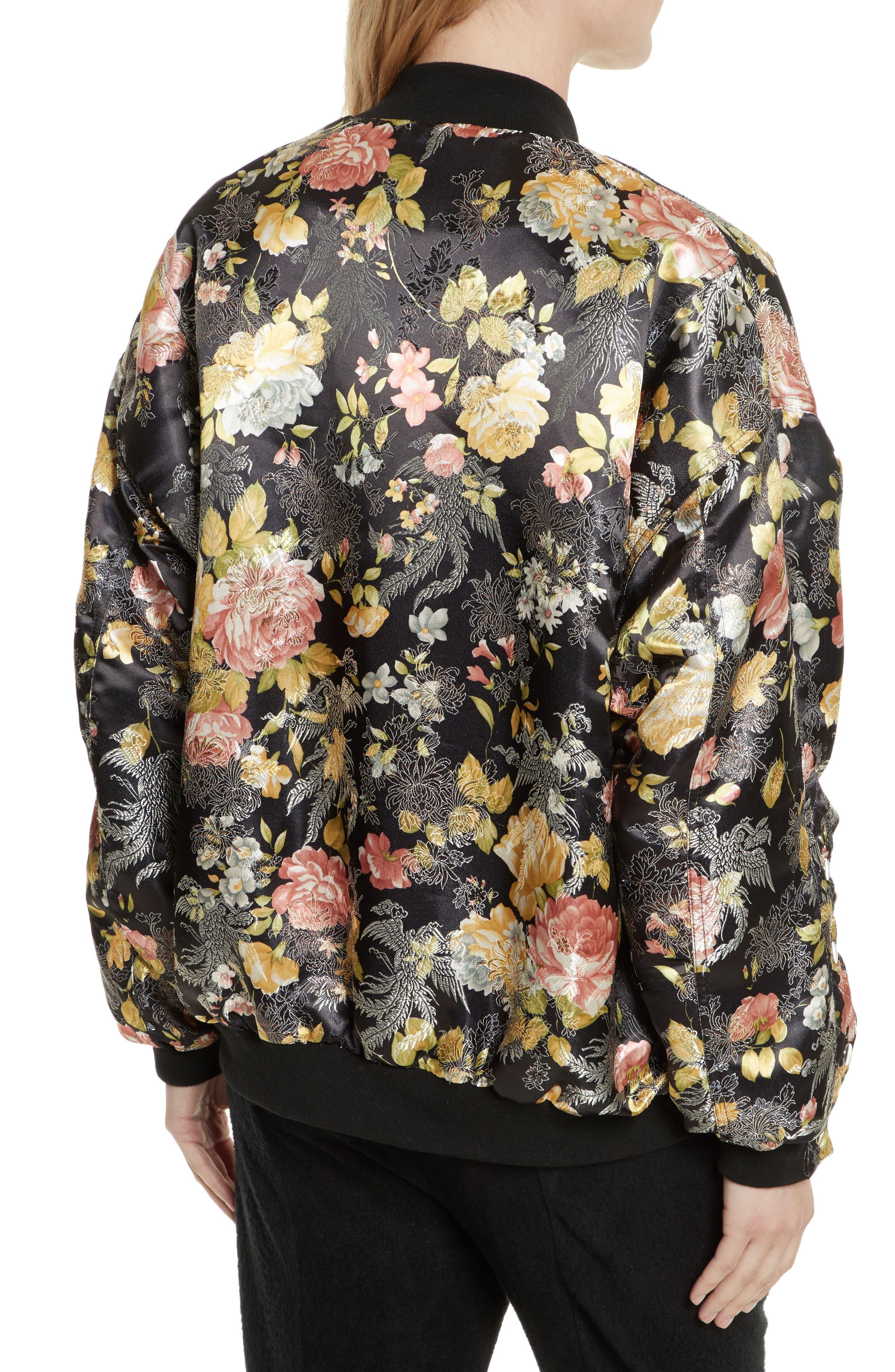 Floral Jacquard Bomber Jacket,                             Alternate thumbnail 2, color,                             Black Combo