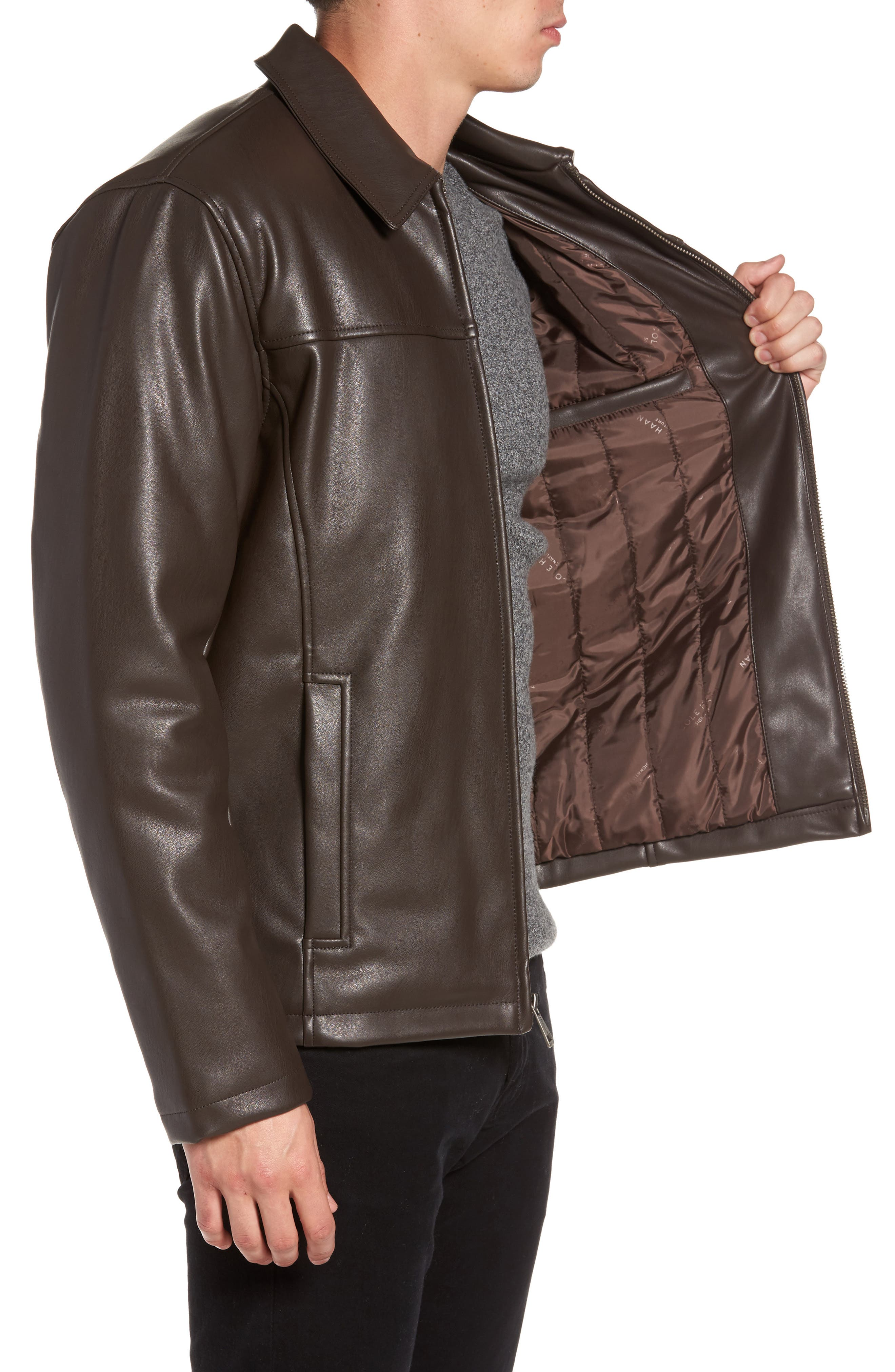 Collared Open Bottom Faux Leather Jacket,                             Alternate thumbnail 3, color,                             Dark Brown