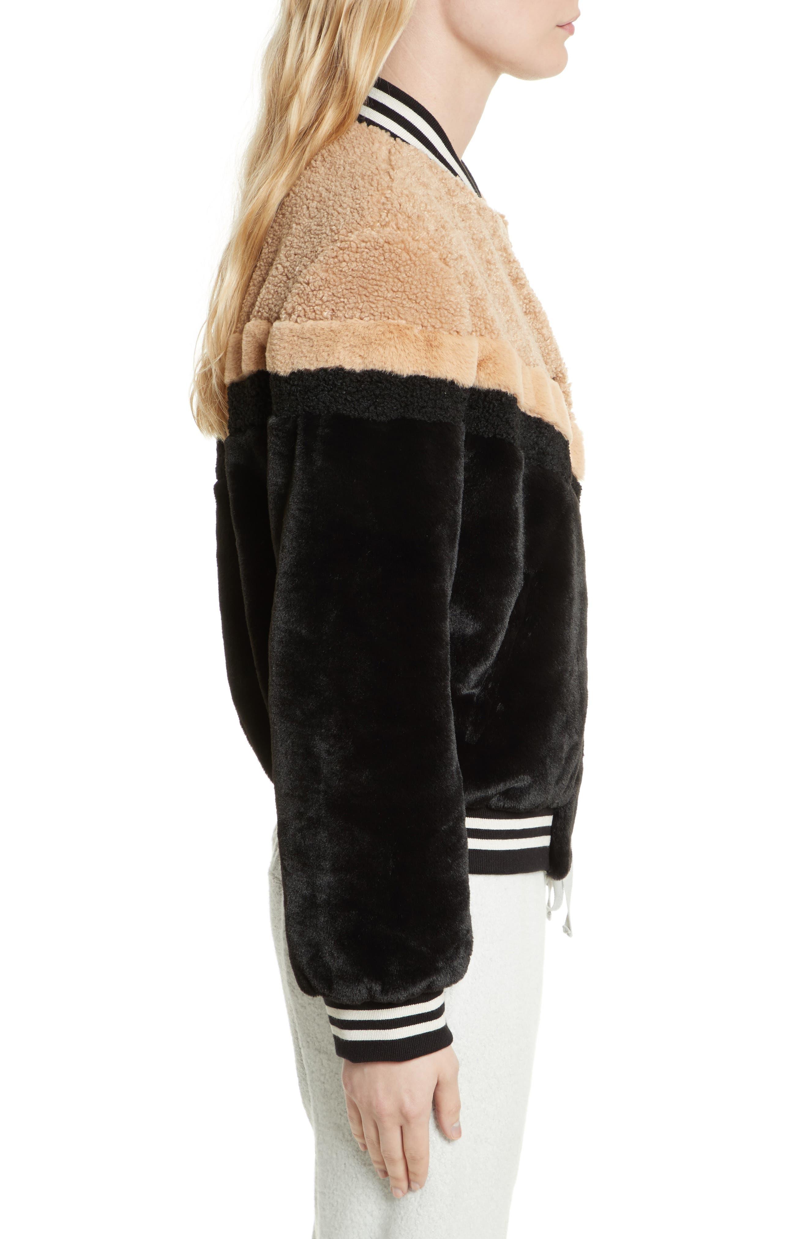 Mixed Faux Fur Bomber Jacket,                             Alternate thumbnail 3, color,                             Black