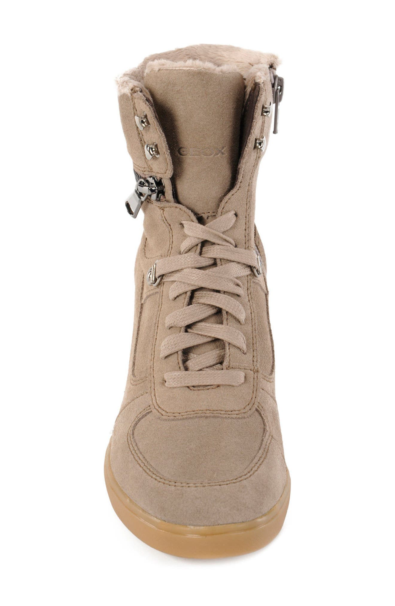 Eleni Wedge Sneaker,                             Alternate thumbnail 4, color,                             Taupe Suede