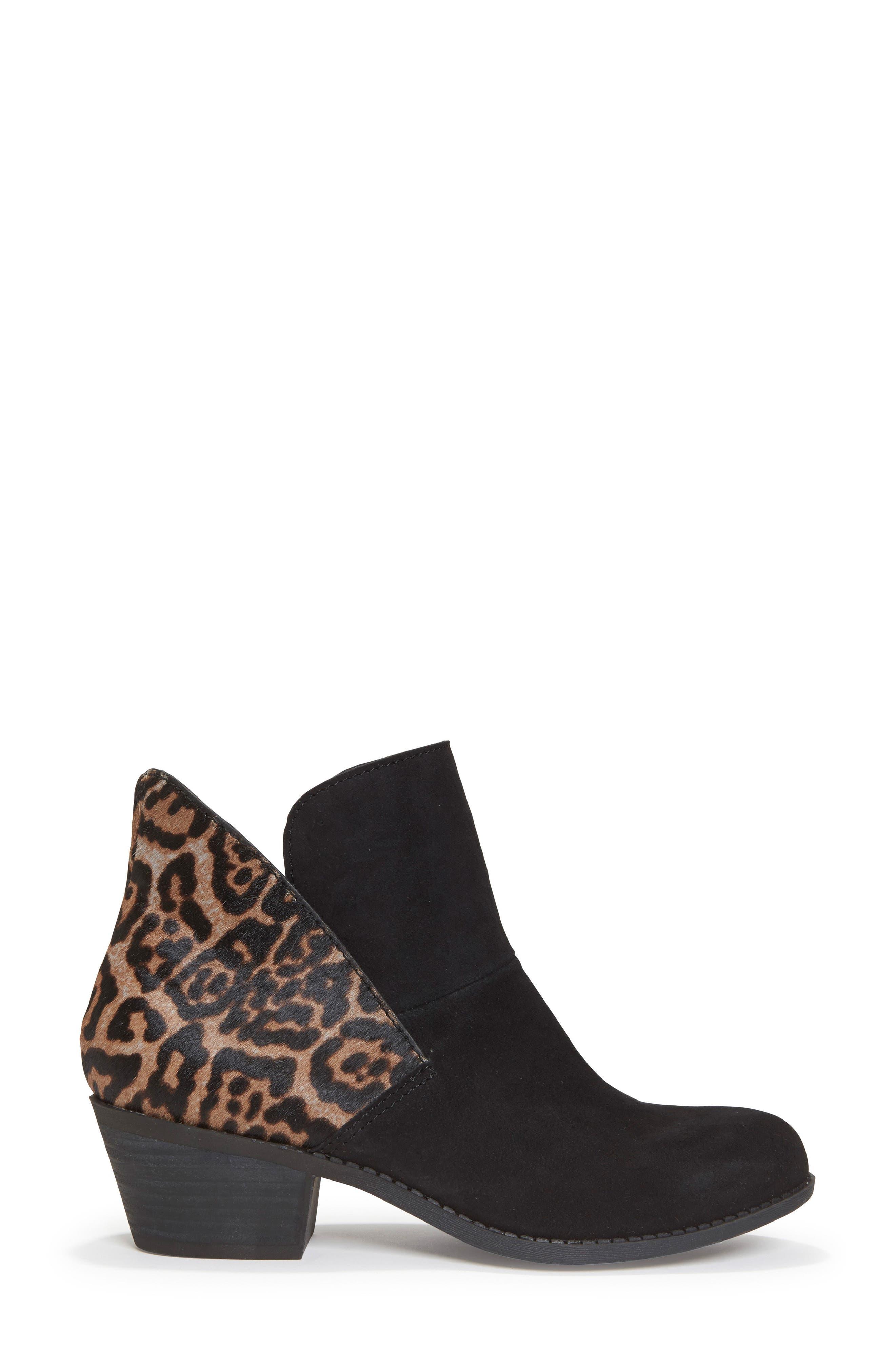 Zena Ankle Boot,                             Alternate thumbnail 3, color,                             Black/ Ash Jaguar Suede
