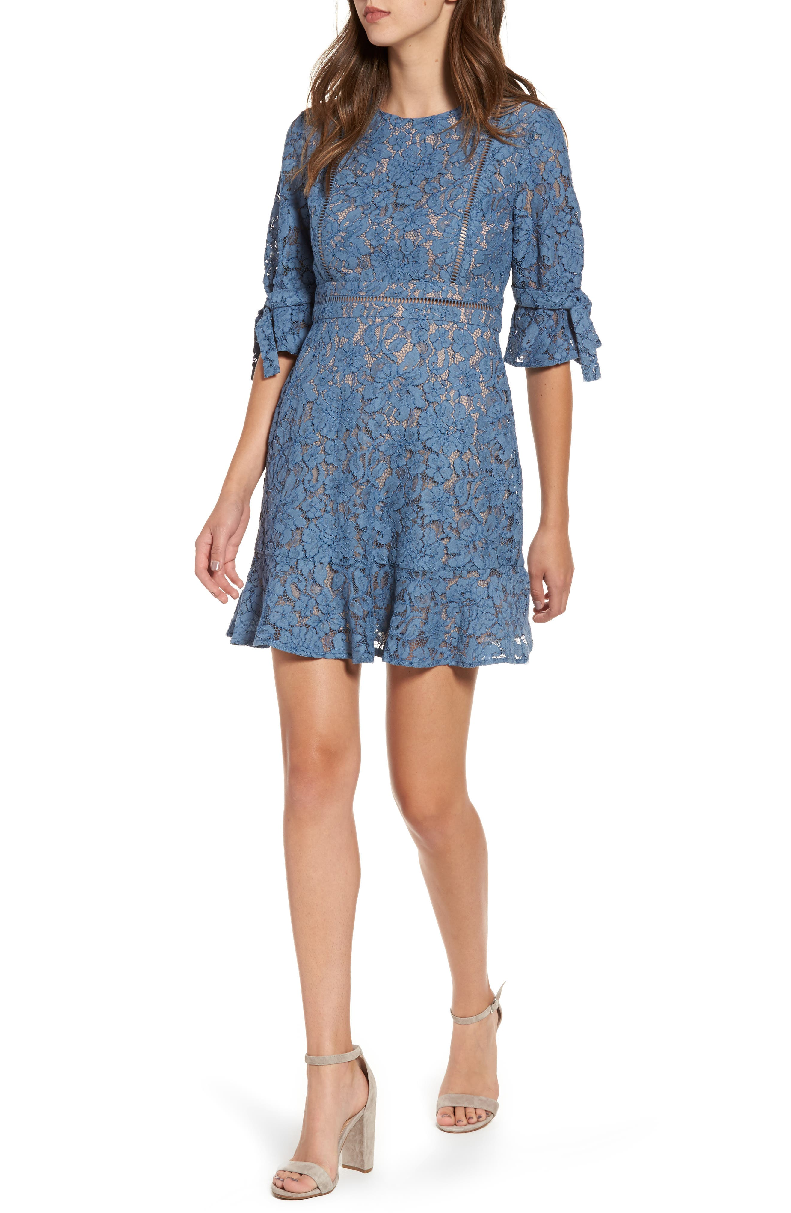 WAYF Rene Lace Fit & Flare Dress
