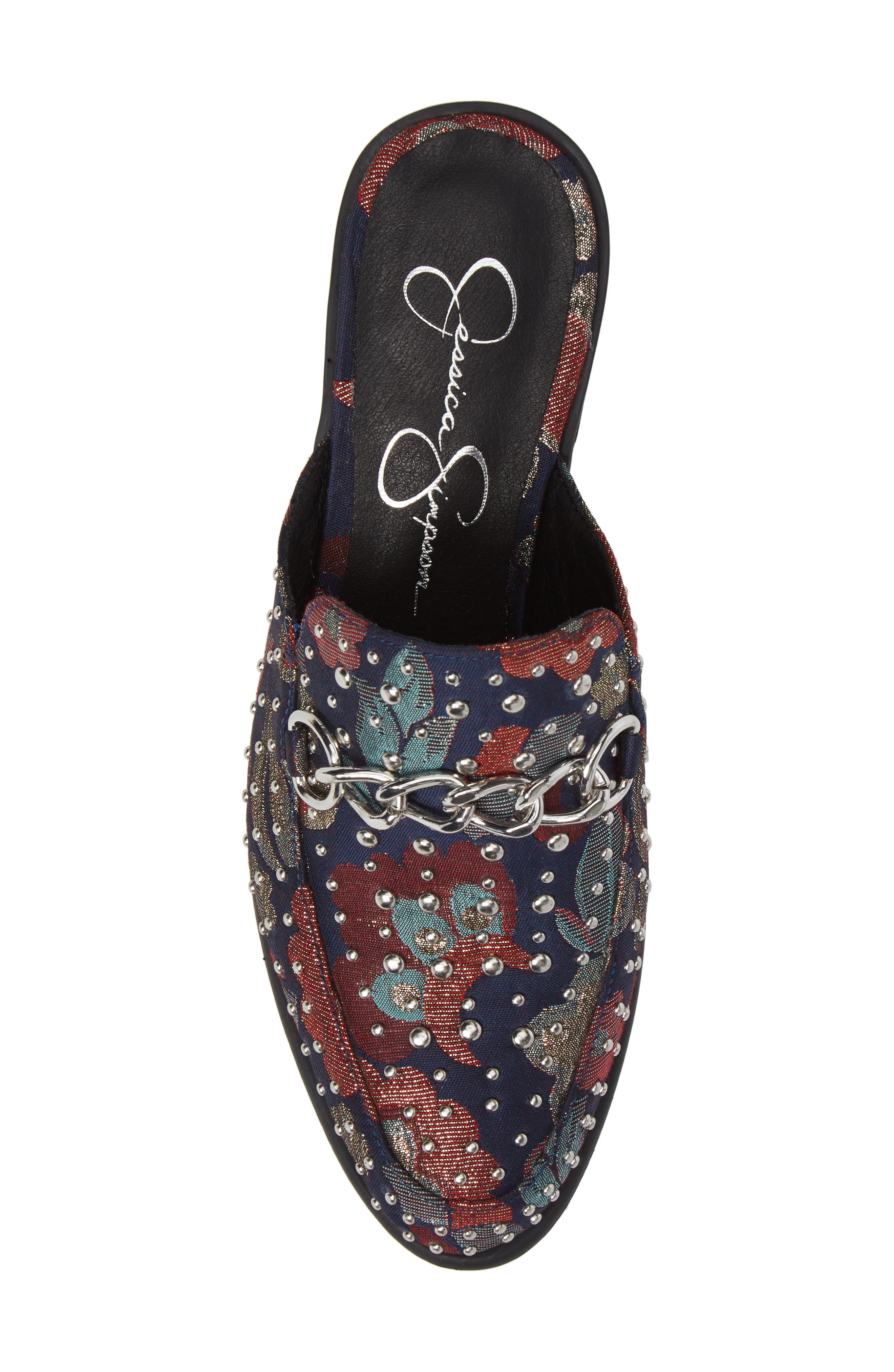 Beez Loafer Mule,                             Alternate thumbnail 5, color,                             Blue Multi Brocade Fabric