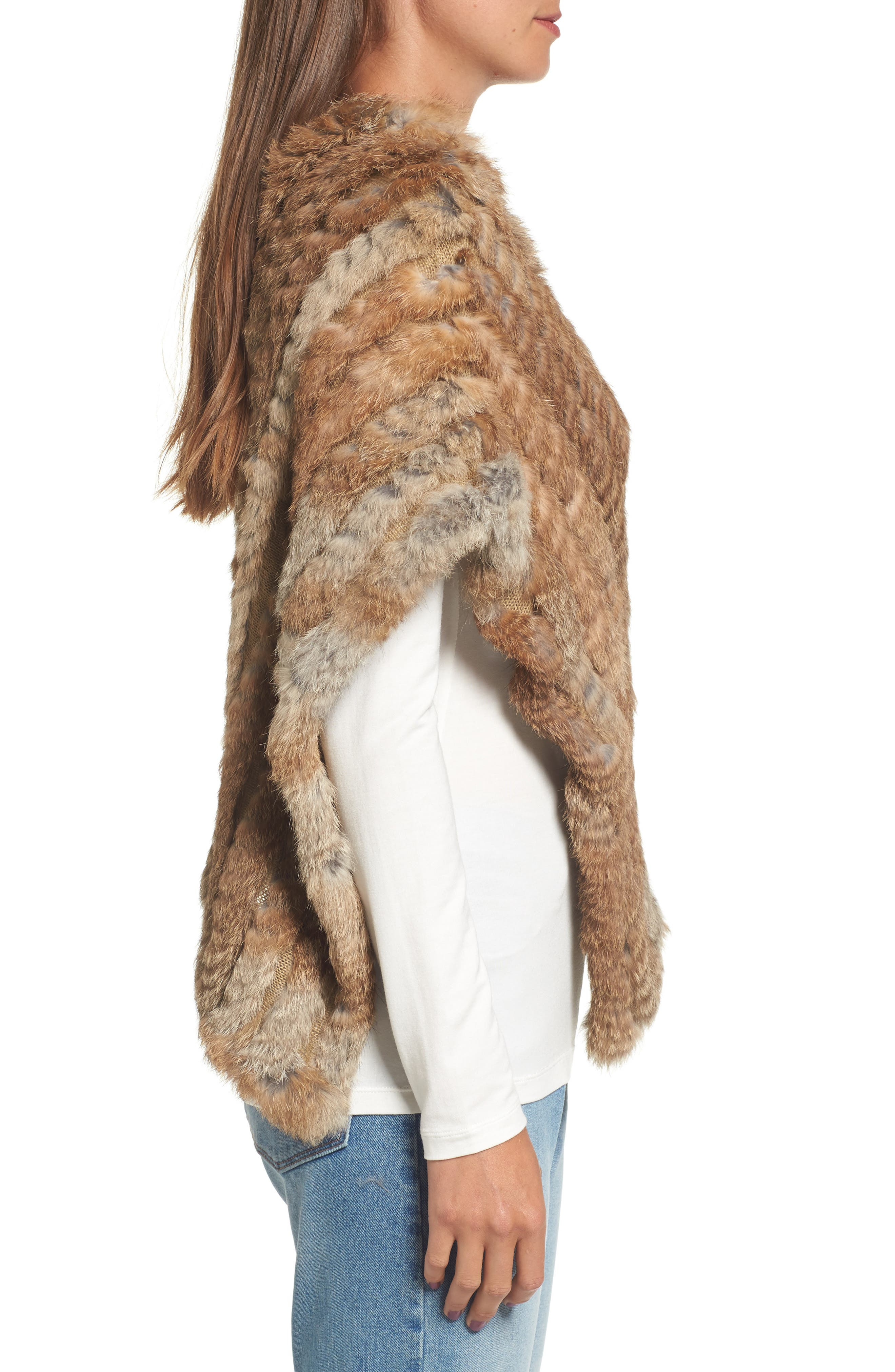 Genuine Rabbit Fur Poncho,                             Alternate thumbnail 3, color,                             Brown/Camel