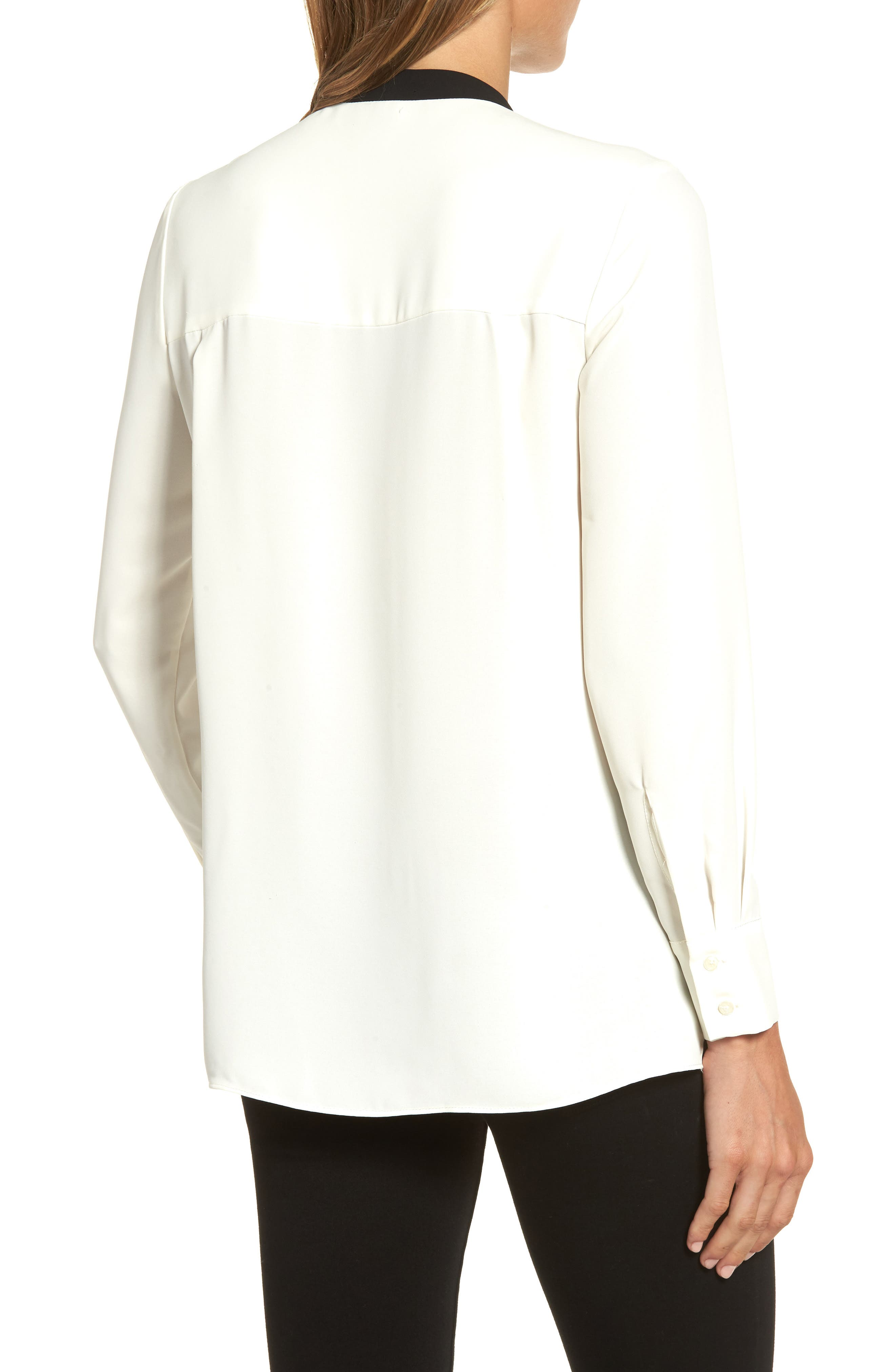 Bow Neck Blouse,                             Alternate thumbnail 2, color,                             White