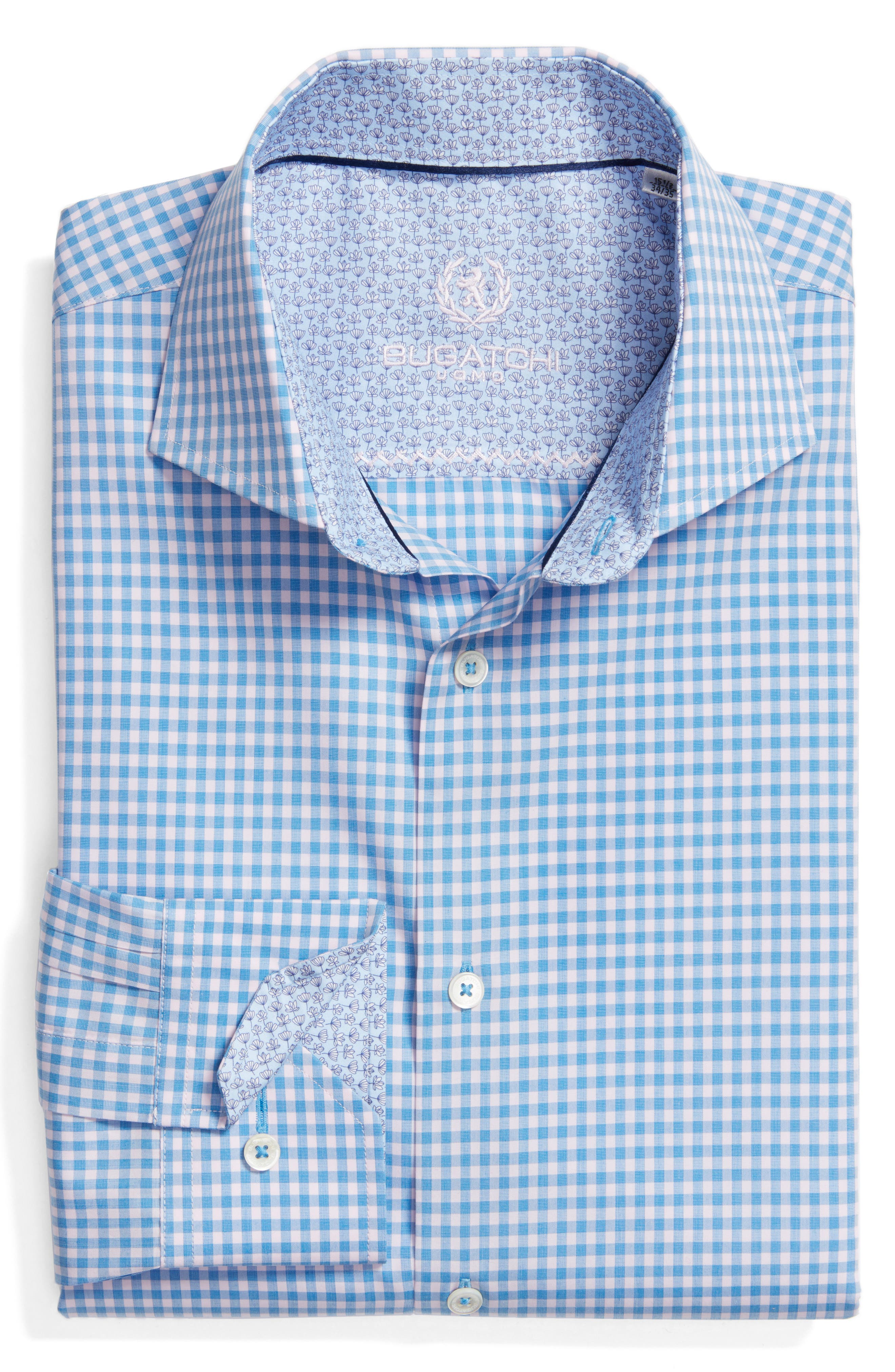Trim Fit Check Dress Shirt,                             Main thumbnail 1, color,                             Air Blue