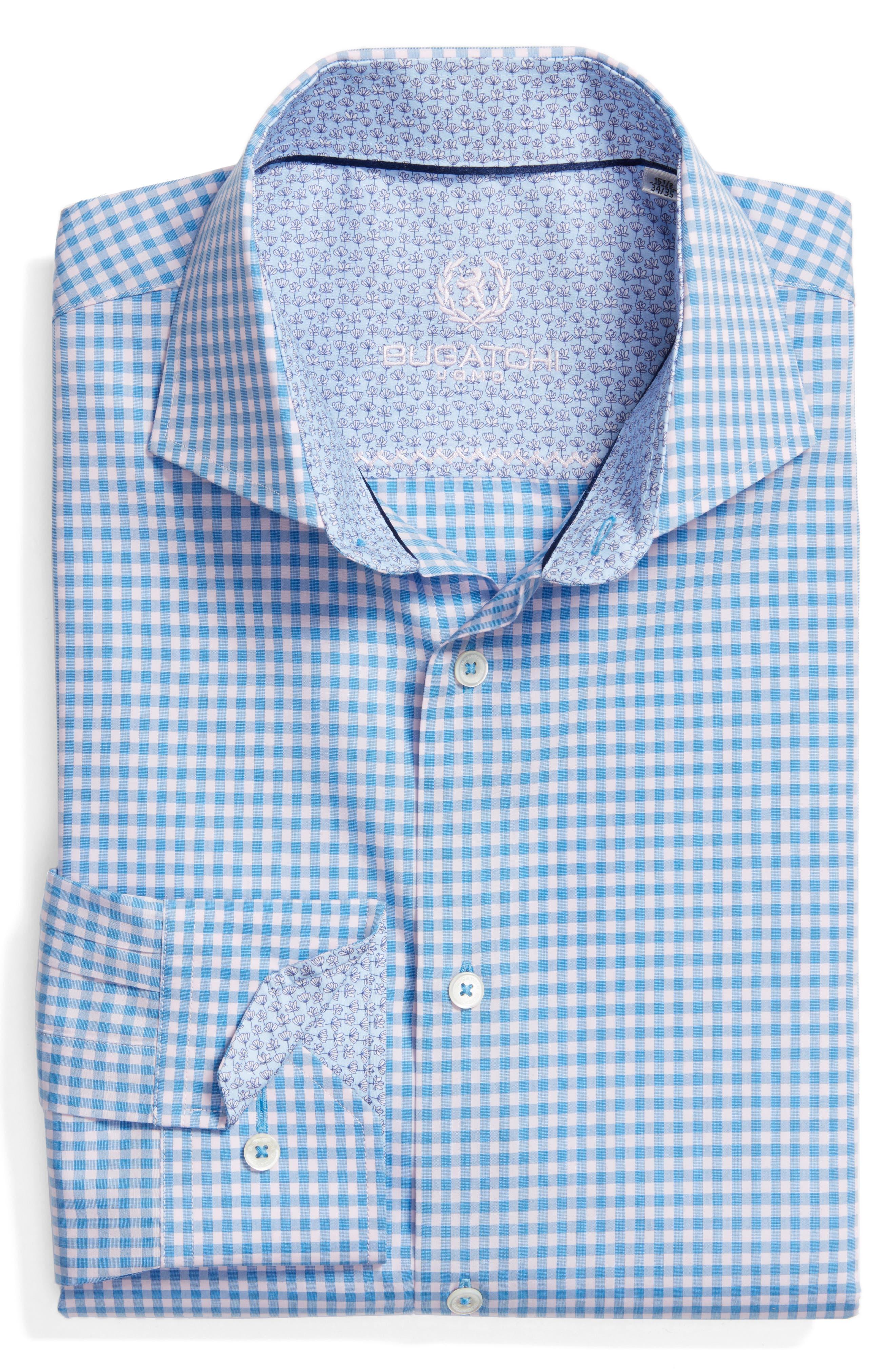 Trim Fit Check Dress Shirt,                         Main,                         color, Air Blue