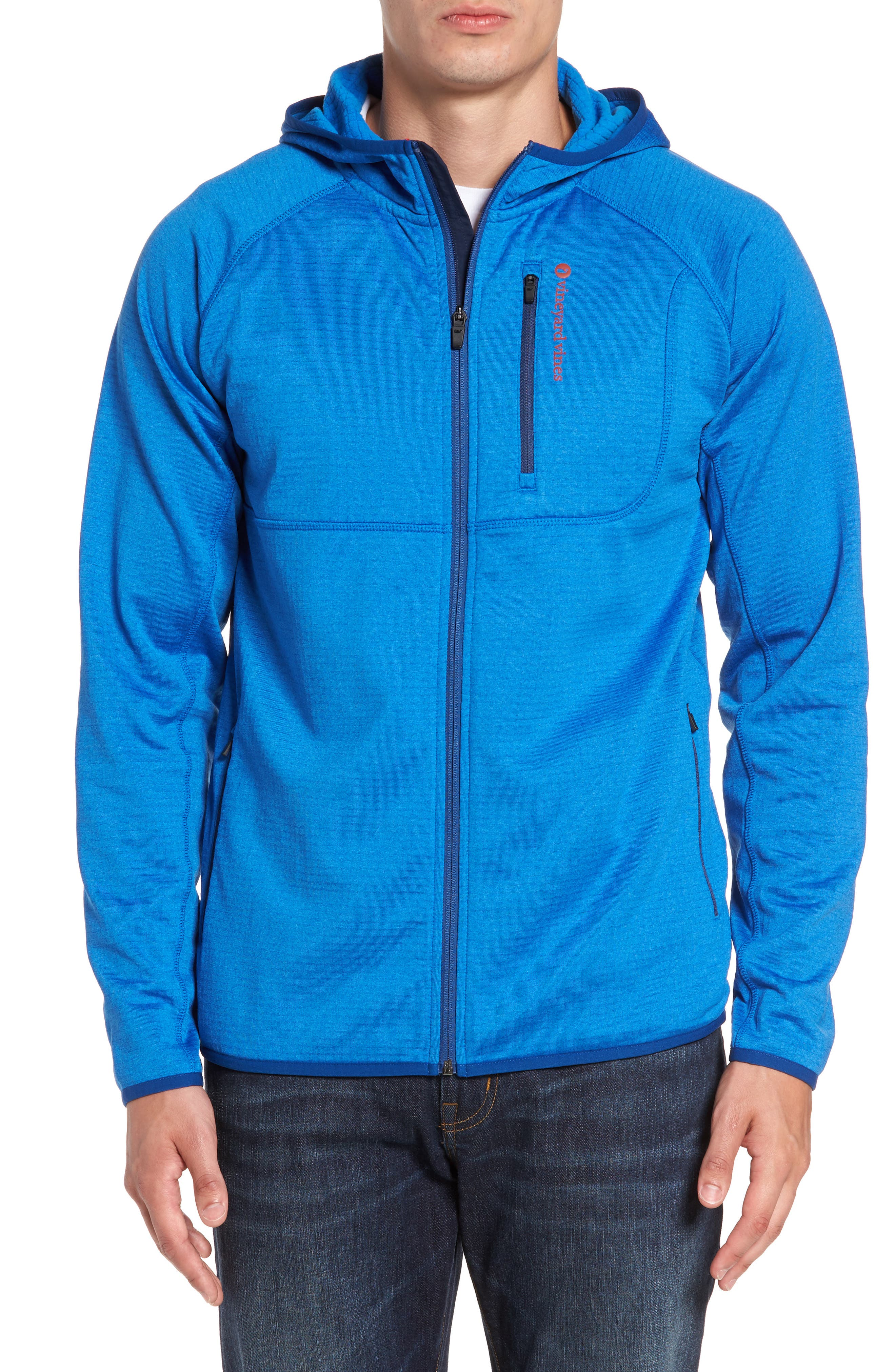 Grid Full Zip Fleece Hoodie,                         Main,                         color, Regatta Blue