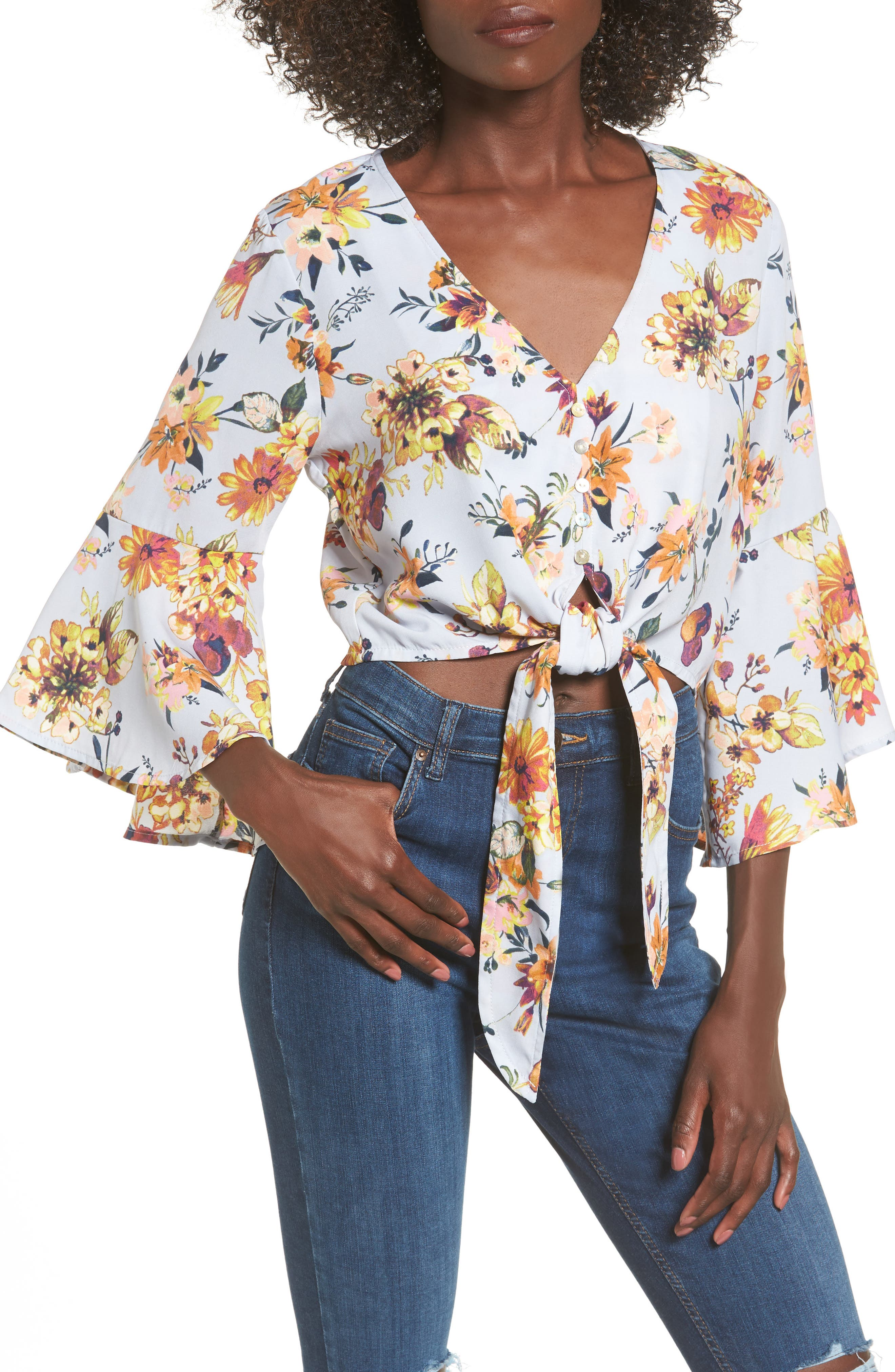 Alternate Image 1 Selected - Leith Print Wrap Top