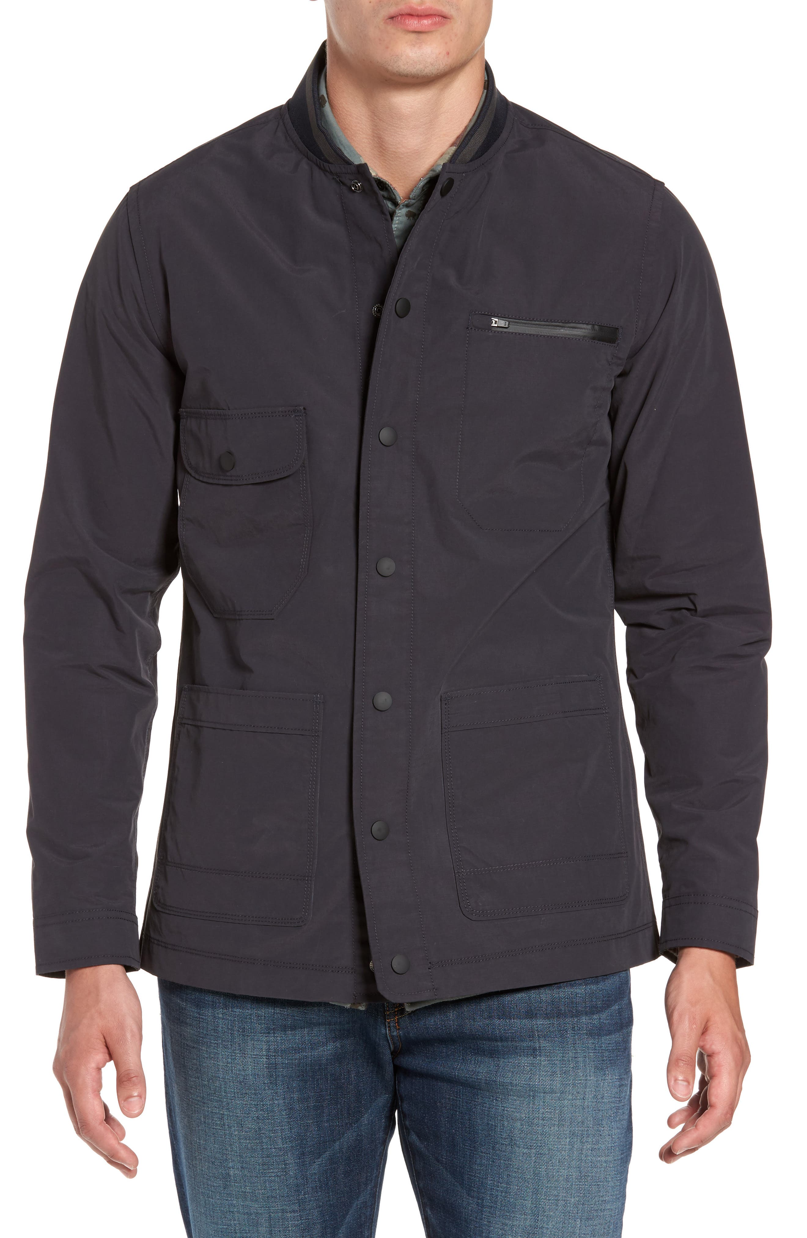 Jarvis Coated Cotton Blend Jacket,                             Alternate thumbnail 3, color,                             Inkwell
