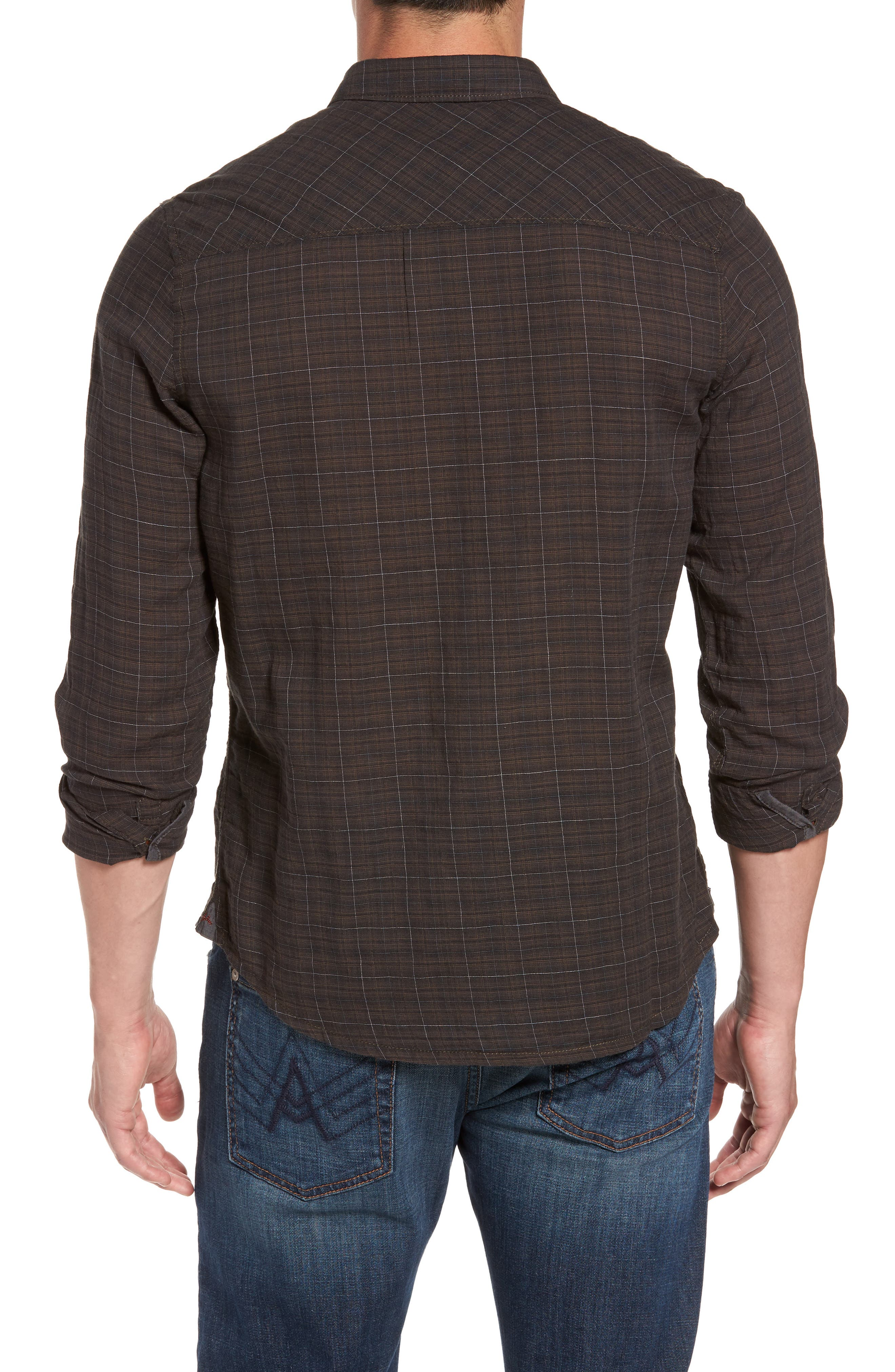 Molera Pucker Plaid Sport Shirt,                             Alternate thumbnail 2, color,                             Asphalt