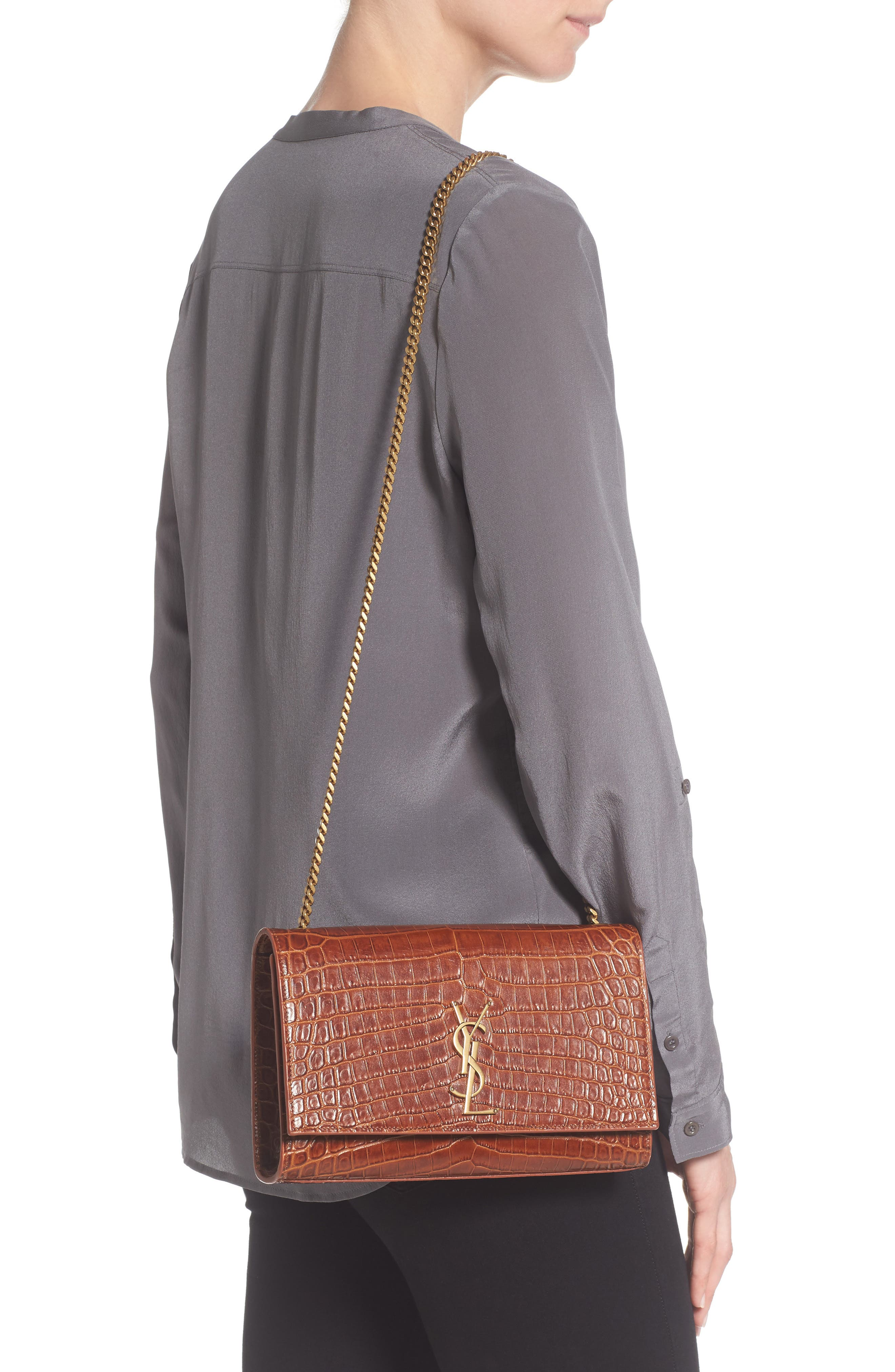 Alternate Image 2  - Saint Laurent Medium Kate Croc Embossed Leather Shoulder Bag