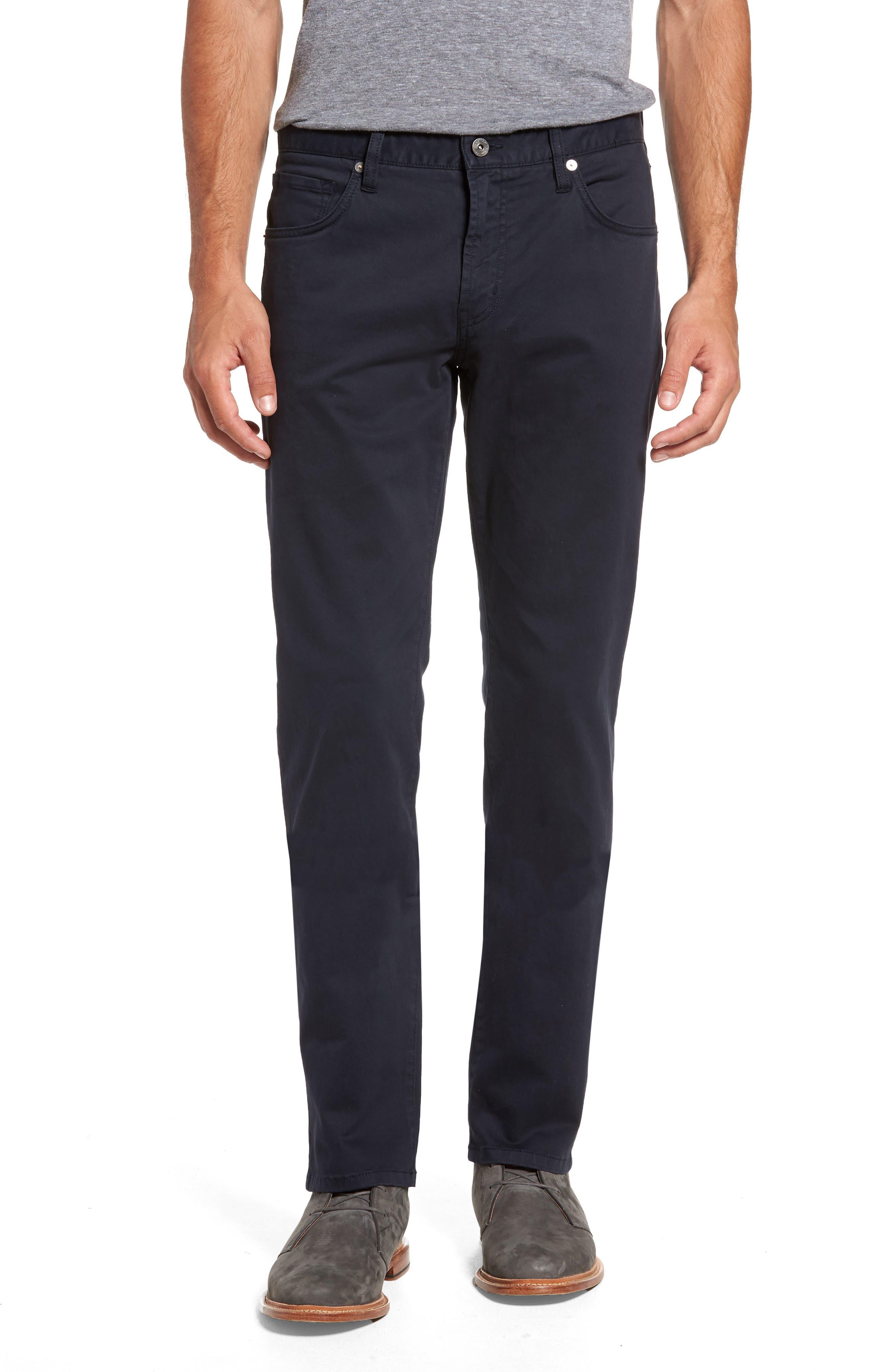 Brushed Twill Five-Pocket Pants,                         Main,                         color, Navy