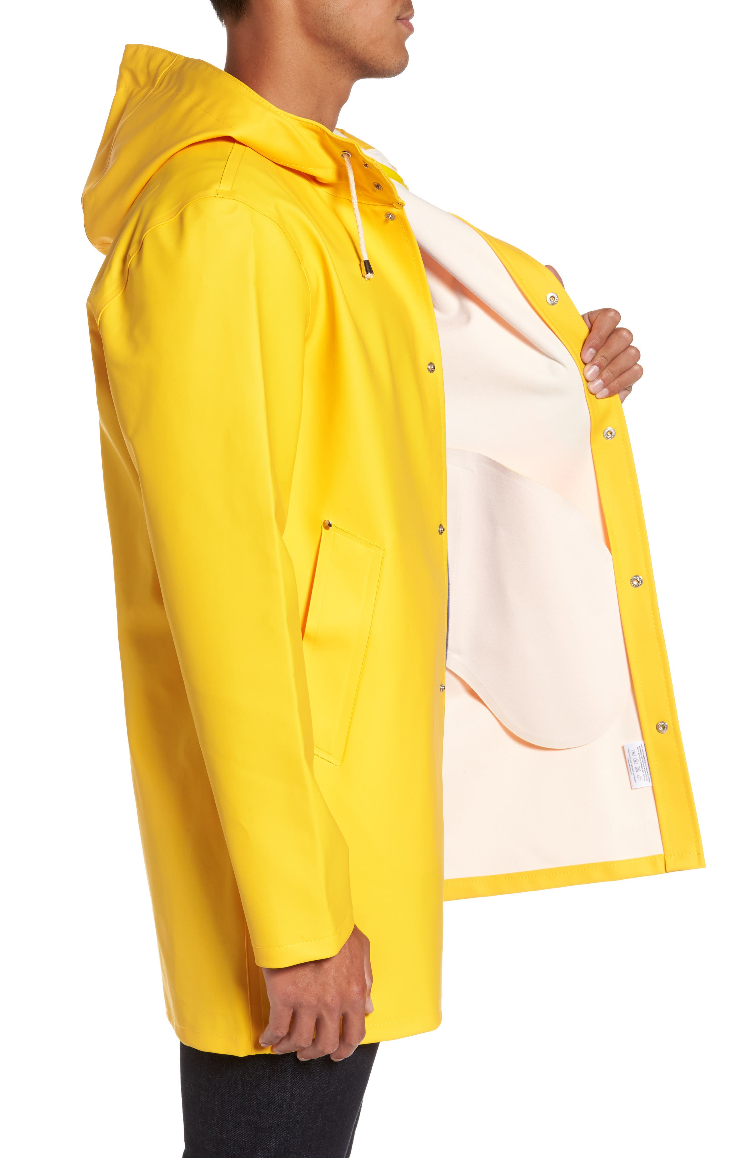 Stockholm Waterproof Hooded Raincoat,                             Alternate thumbnail 3, color,                             Yellow