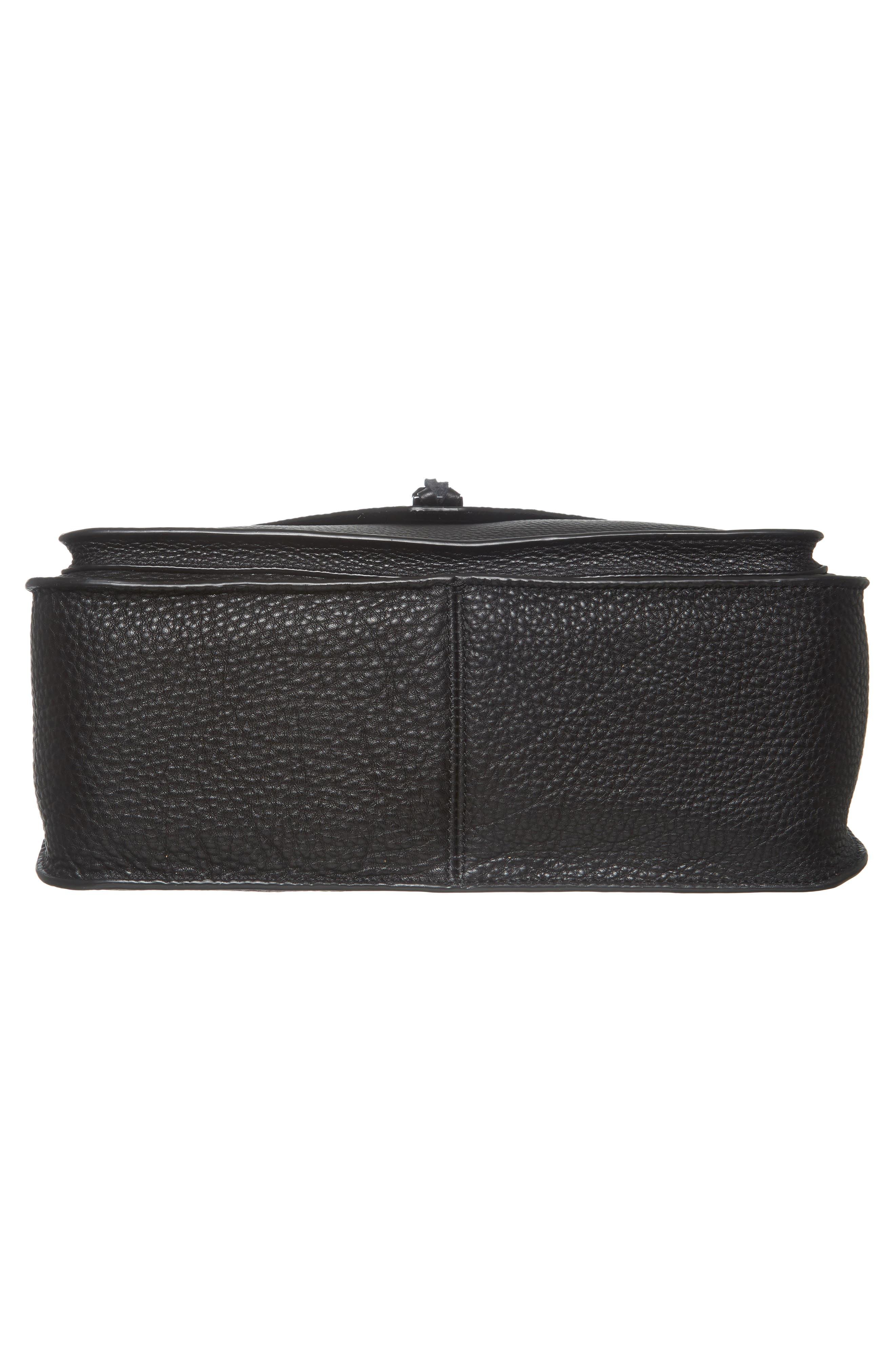 Darren Leather Messenger Bag,                             Alternate thumbnail 6, color,                             Black