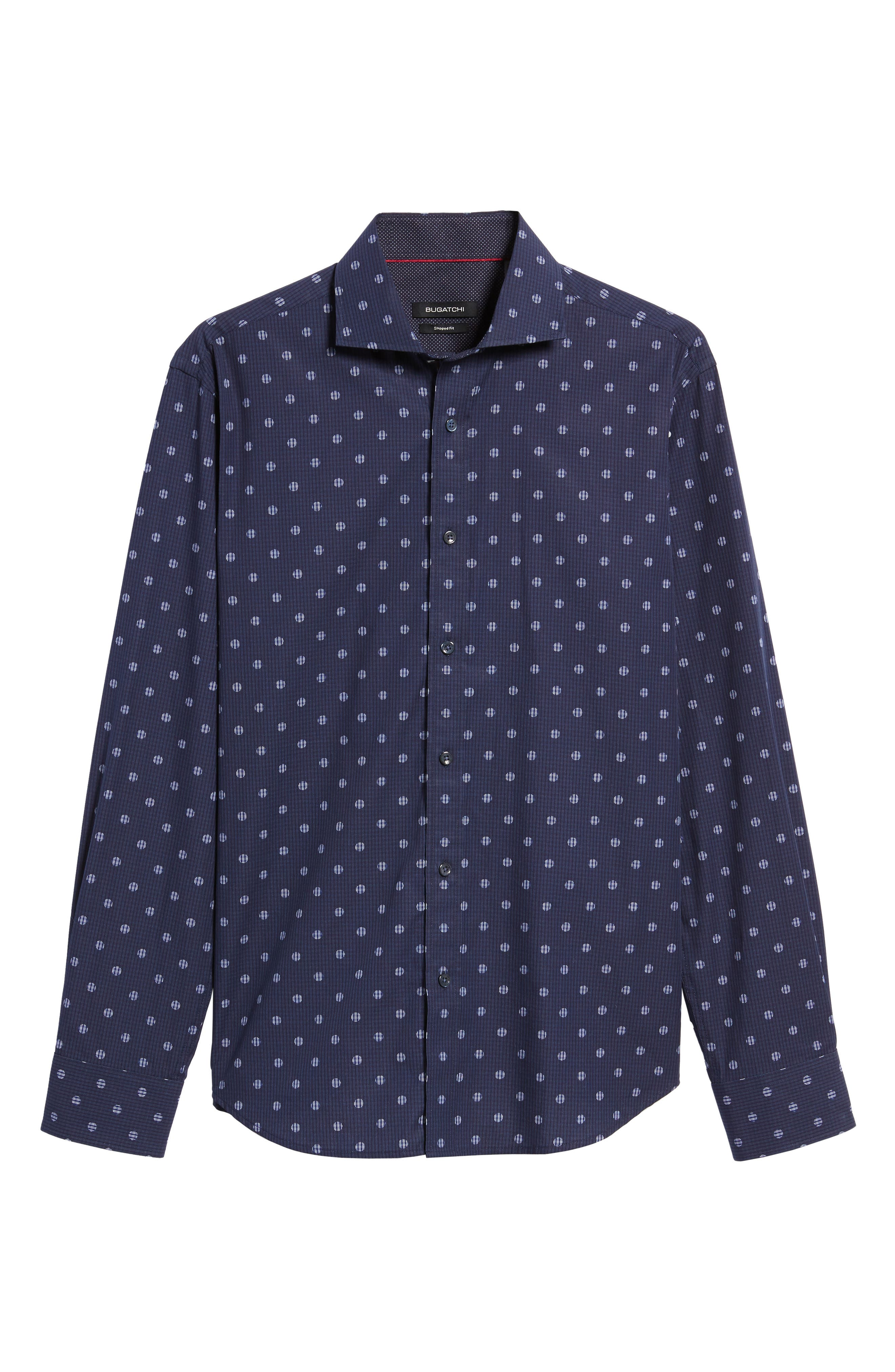 Shaped Fit Dot Check Sport Shirt,                             Alternate thumbnail 6, color,                             Midnight
