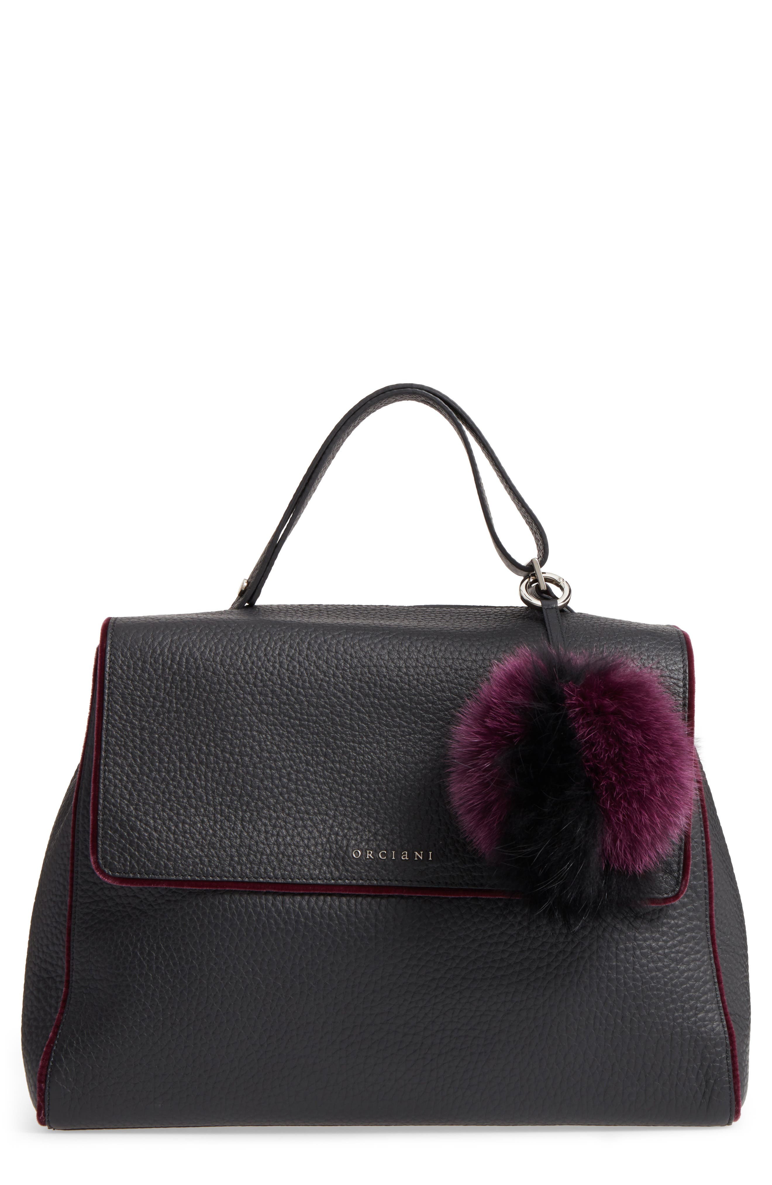 Main Image - Orciani Large Sveva Soft Leather Top Handle Satchel with Genuine Fur Bag Charm