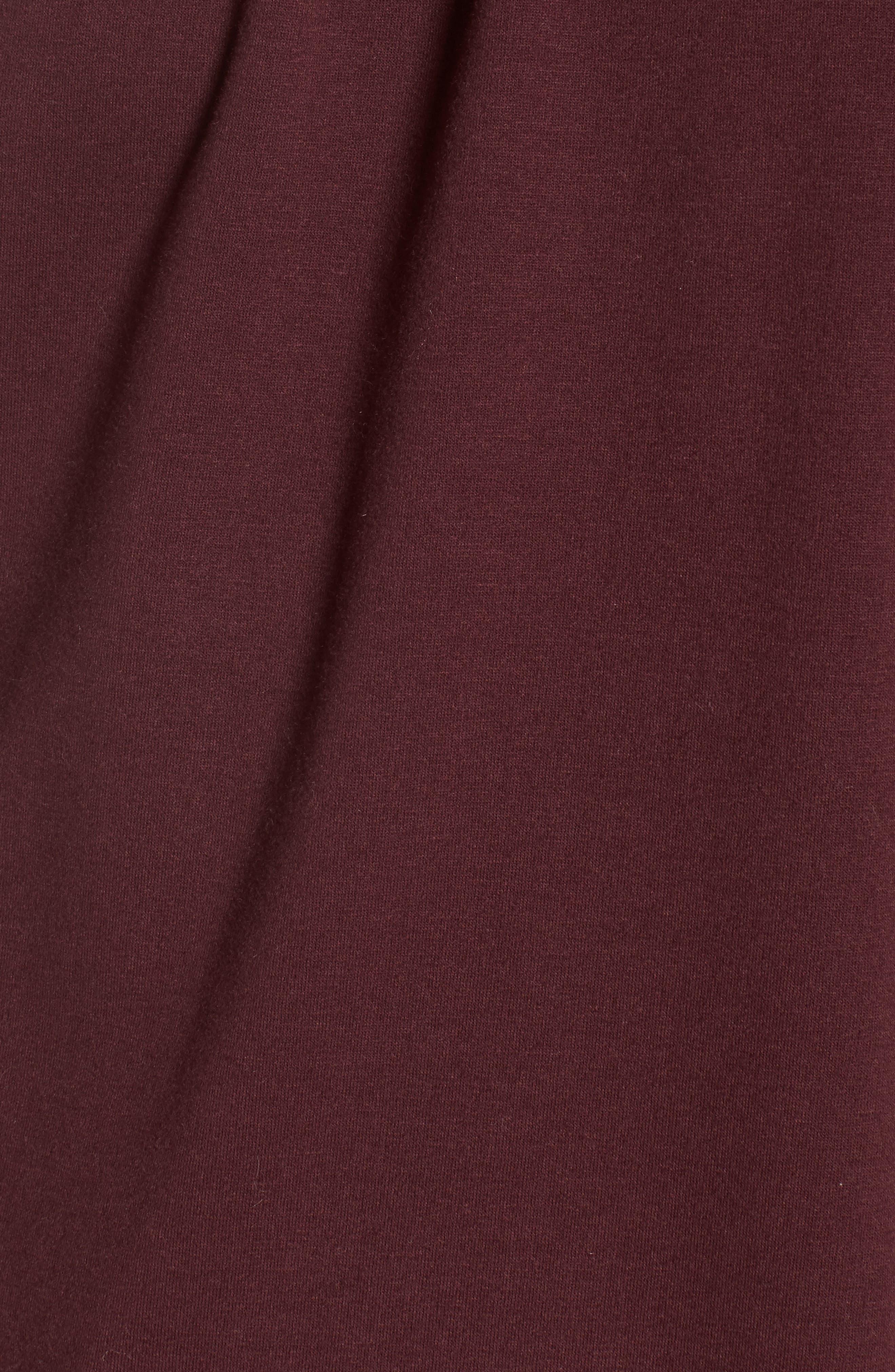 Pleated Knit Top,                             Alternate thumbnail 5, color,                             Burgundy Stem