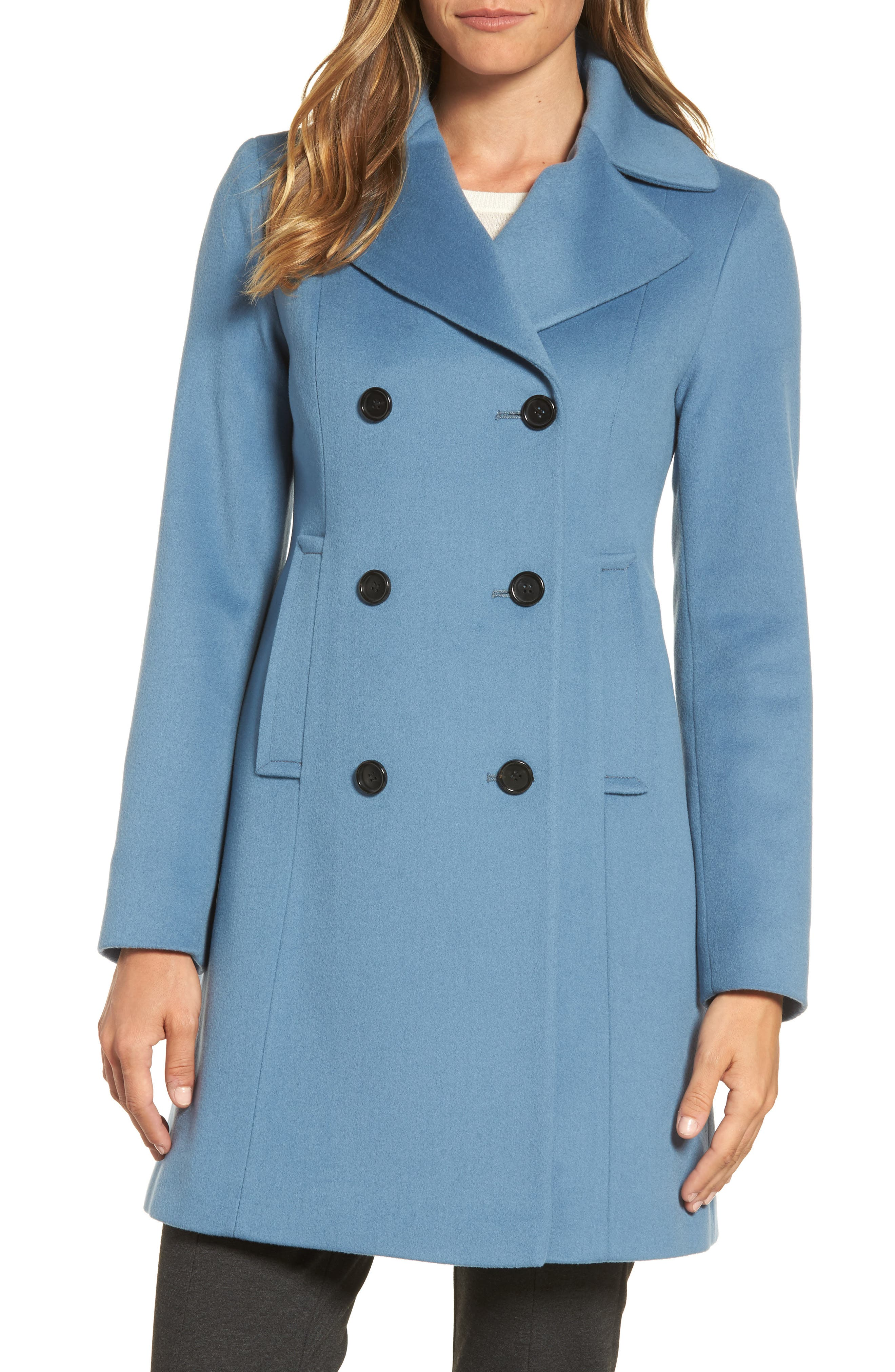 Double Breasted Loro Piana Wool Coat,                         Main,                         color, Cornflower