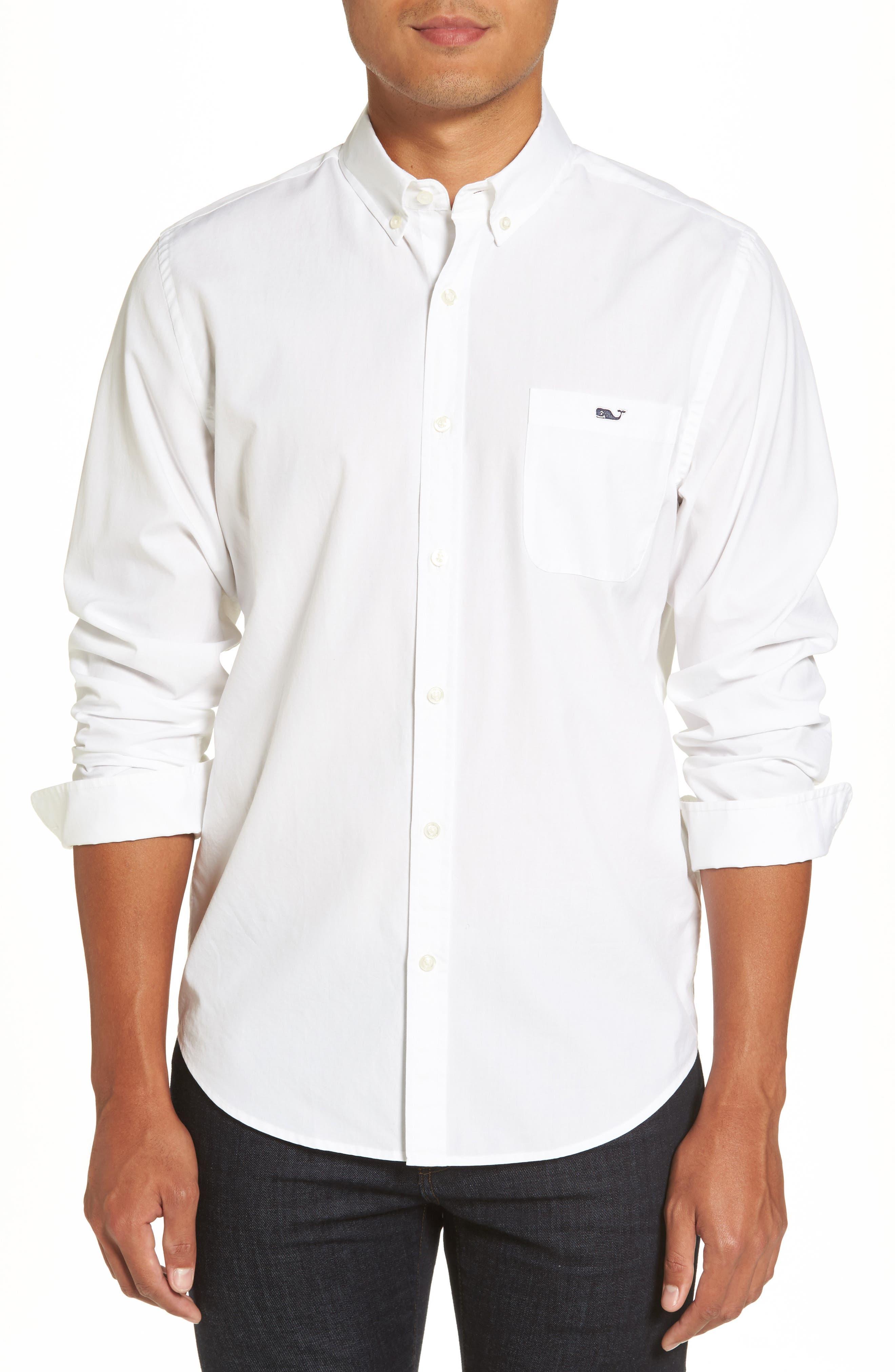 End on End Slim Tucker Sport Shirt,                         Main,                         color, White