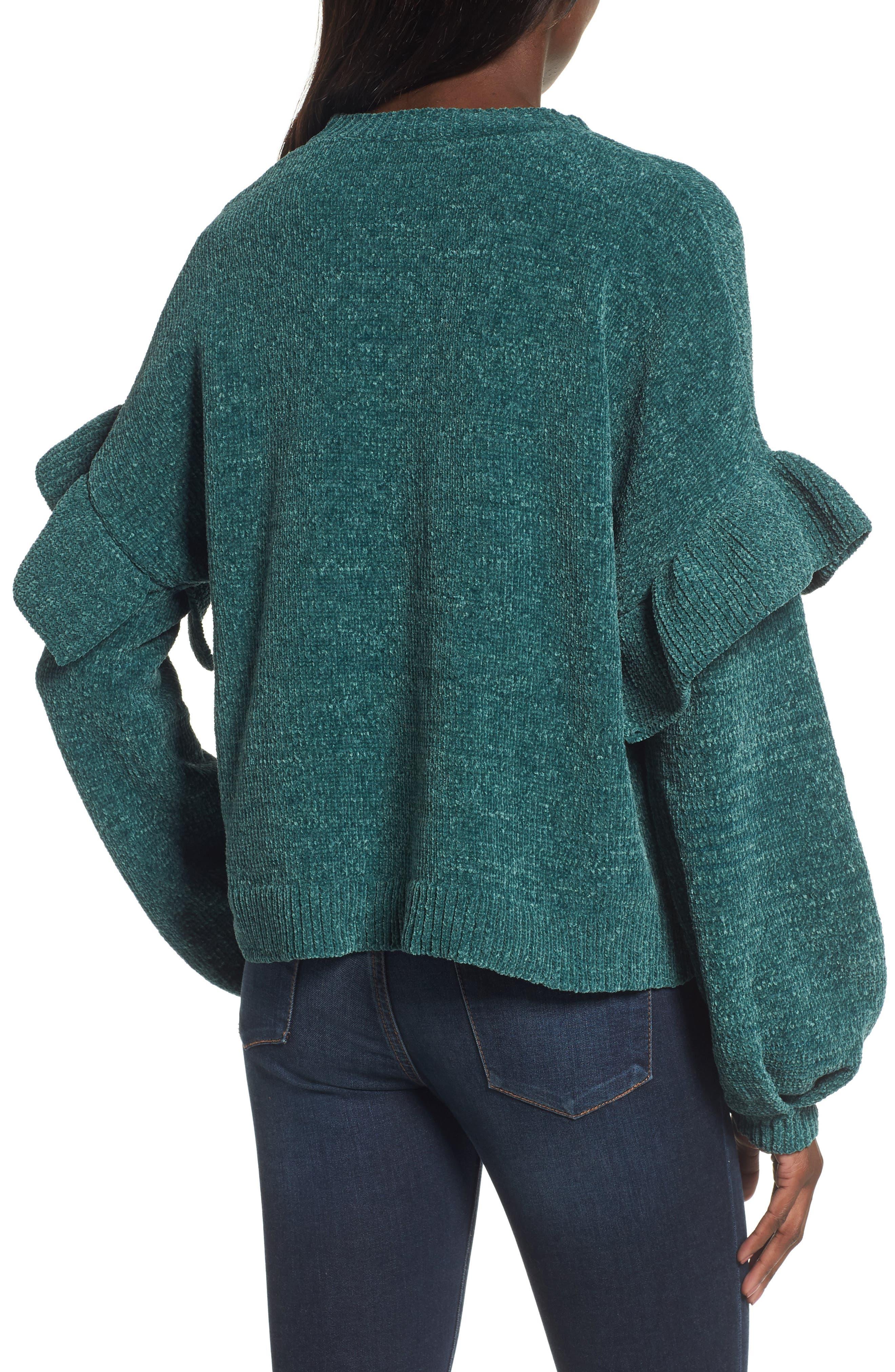 Ruffle Chenille Sweater,                             Alternate thumbnail 2, color,                             Green Jasper