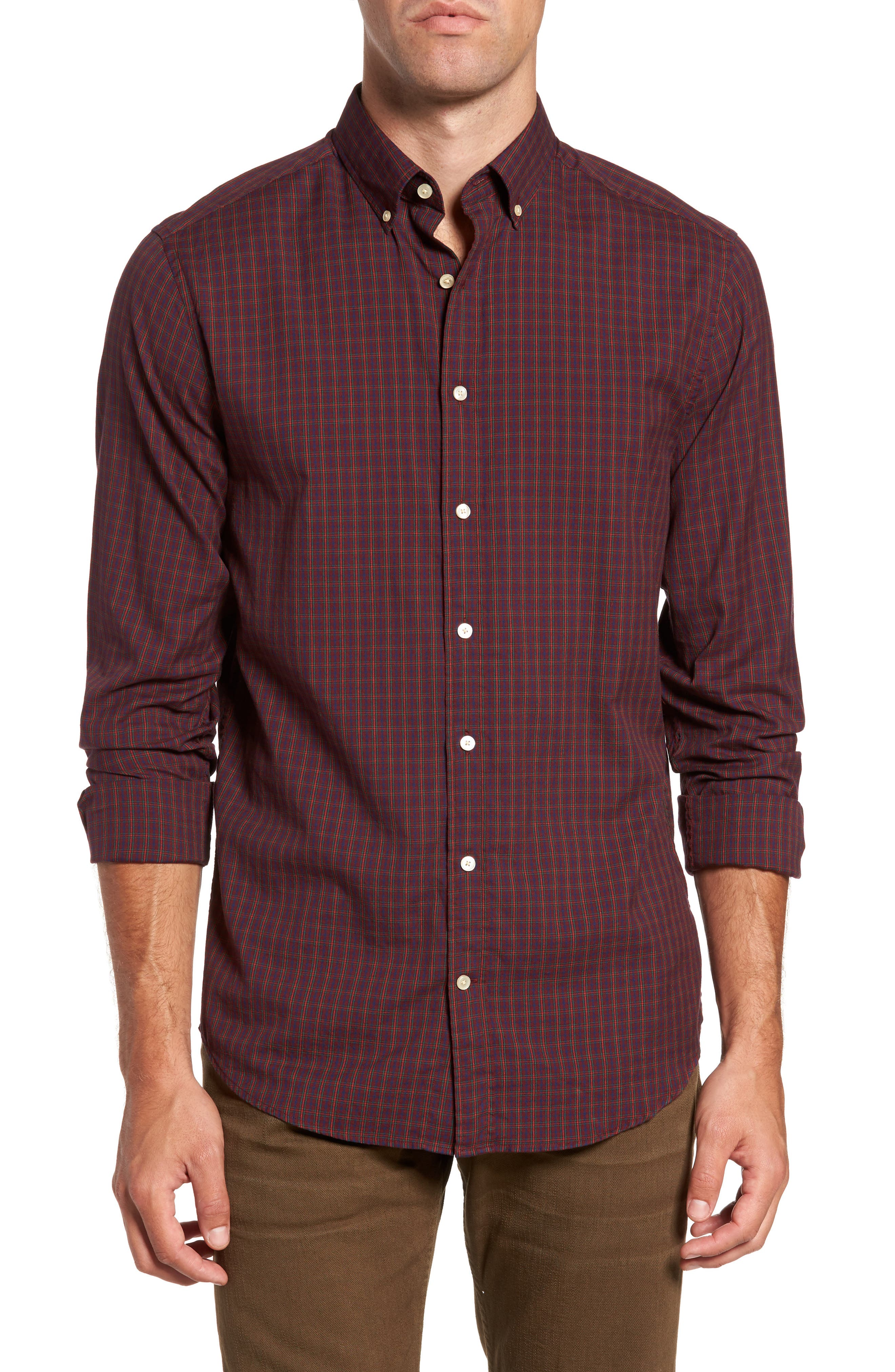 Windblown Slim Fit Oxford Sport Shirt,                             Main thumbnail 1, color,                             Purple Wine