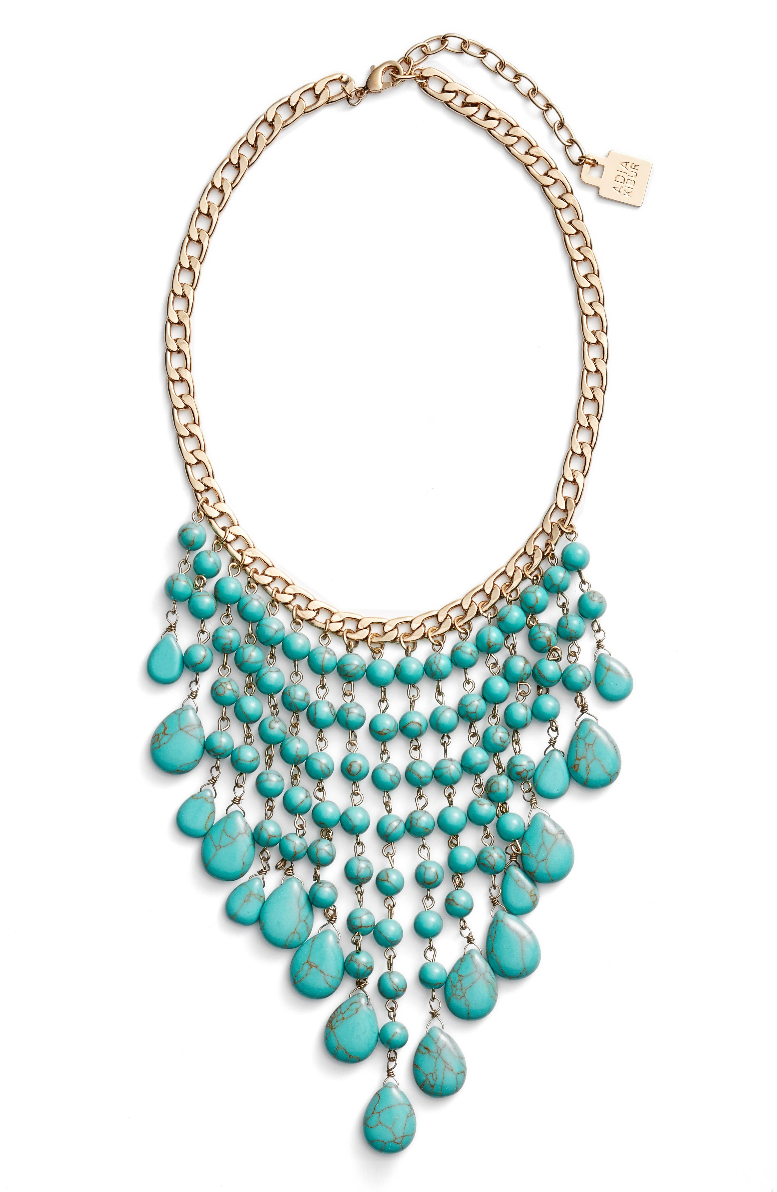 Spray Statement Necklace,                         Main,                         color, Turquoise