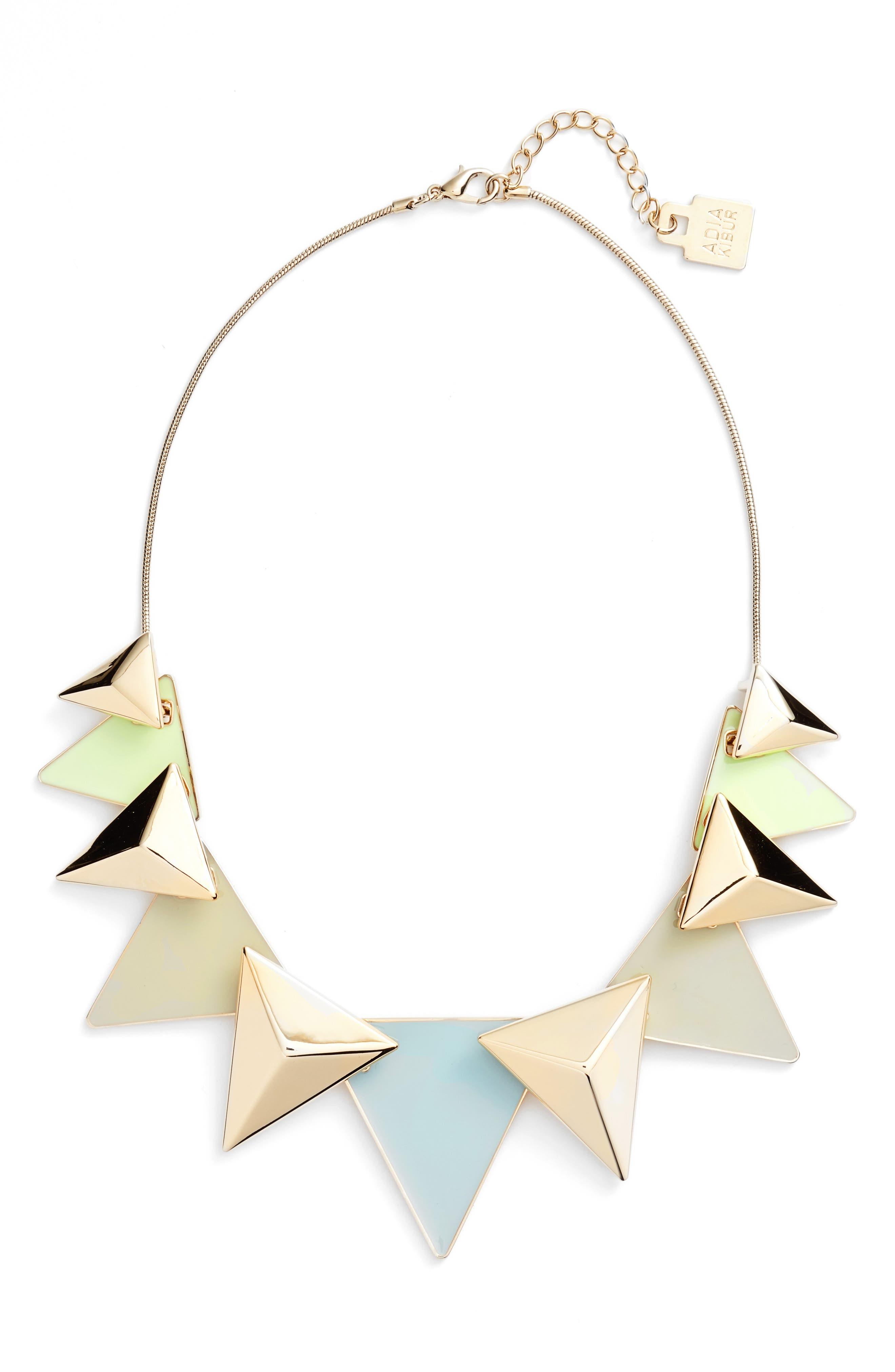 Adia Kibur Layered Triangle Statement Necklace