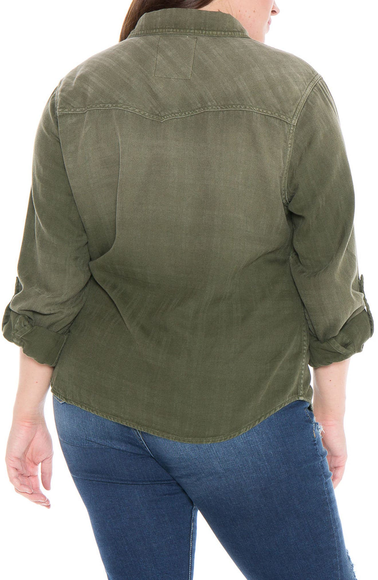 Plaid Western Shirt,                             Alternate thumbnail 2, color,                             Forest