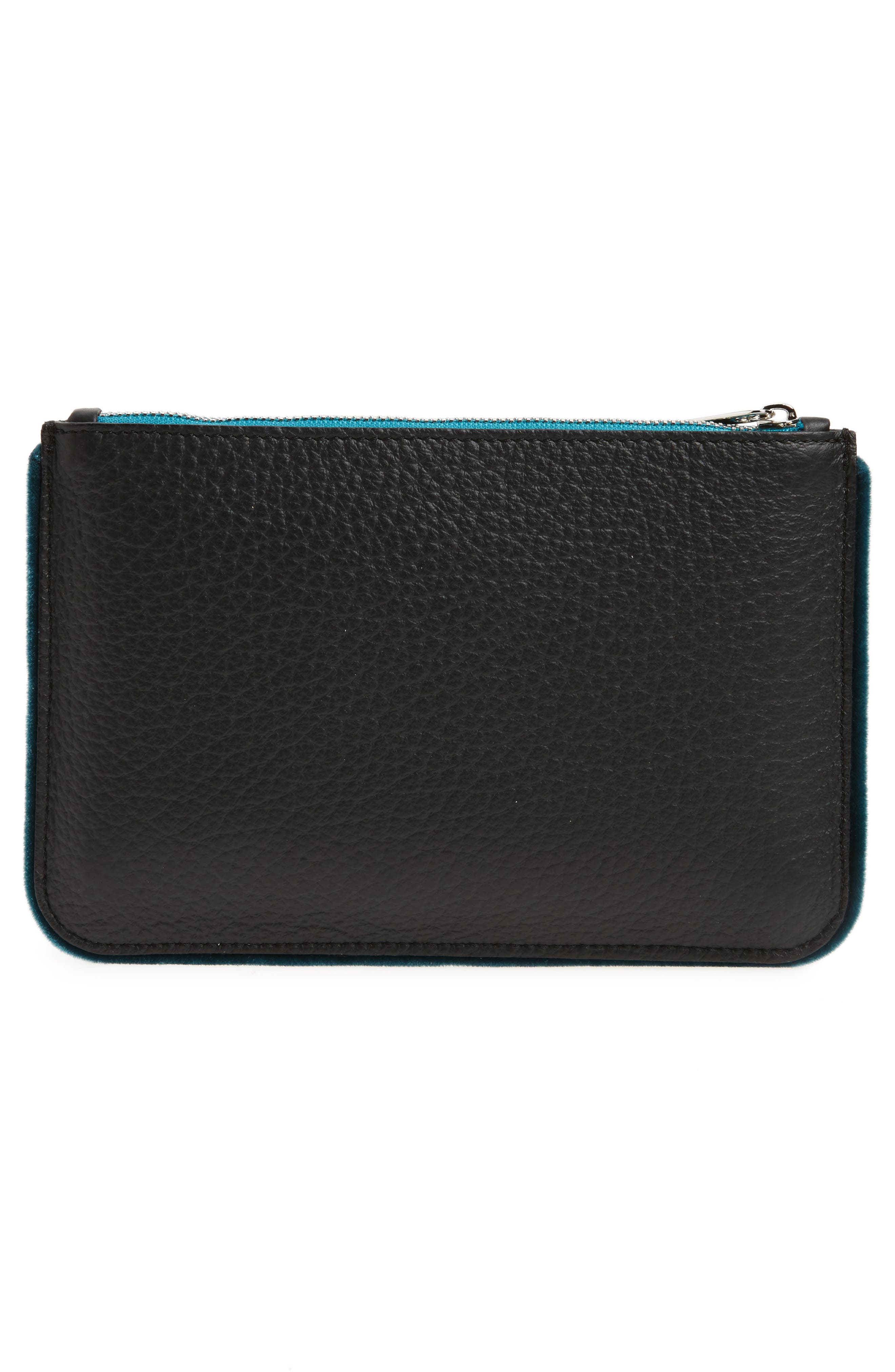 Alternate Image 2  - Orciani Large Soft Line Velvet Trim Calfskin Leather Pouch