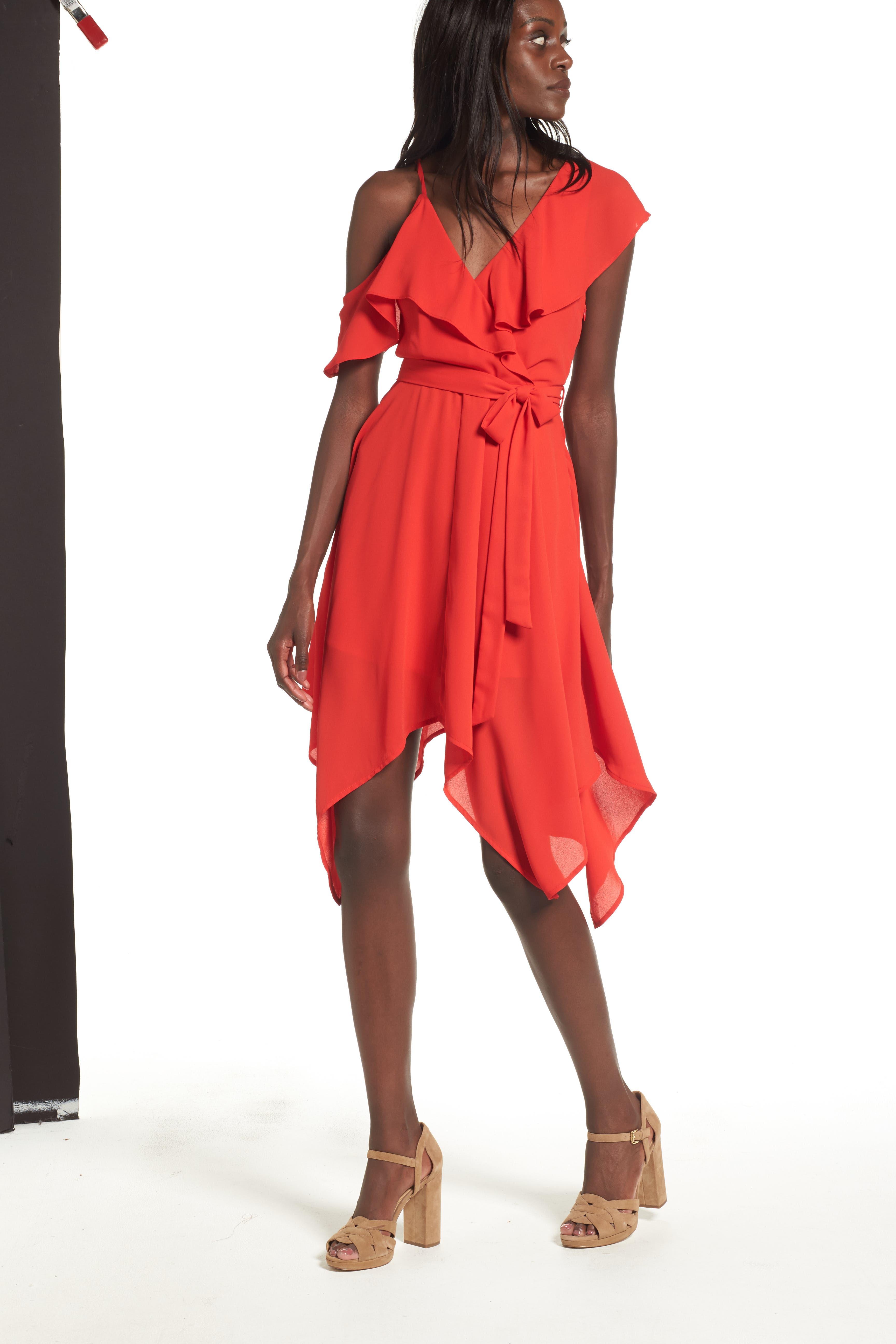 Asymmetrical Ruffle Dress,                             Alternate thumbnail 4, color,                             Red