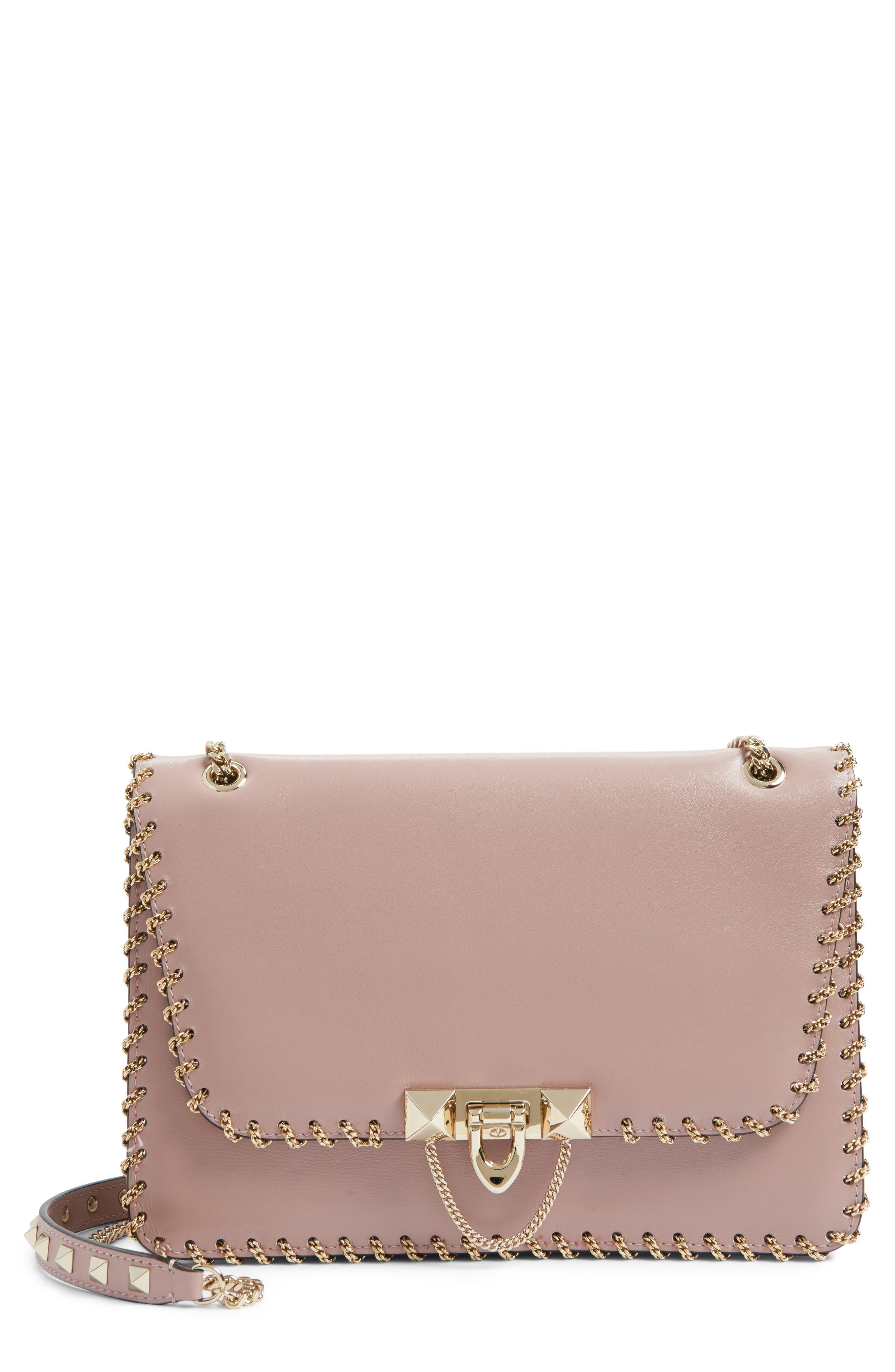 Demilune Whipstitch Leather Shoulder Bag,                         Main,                         color, Lipstick