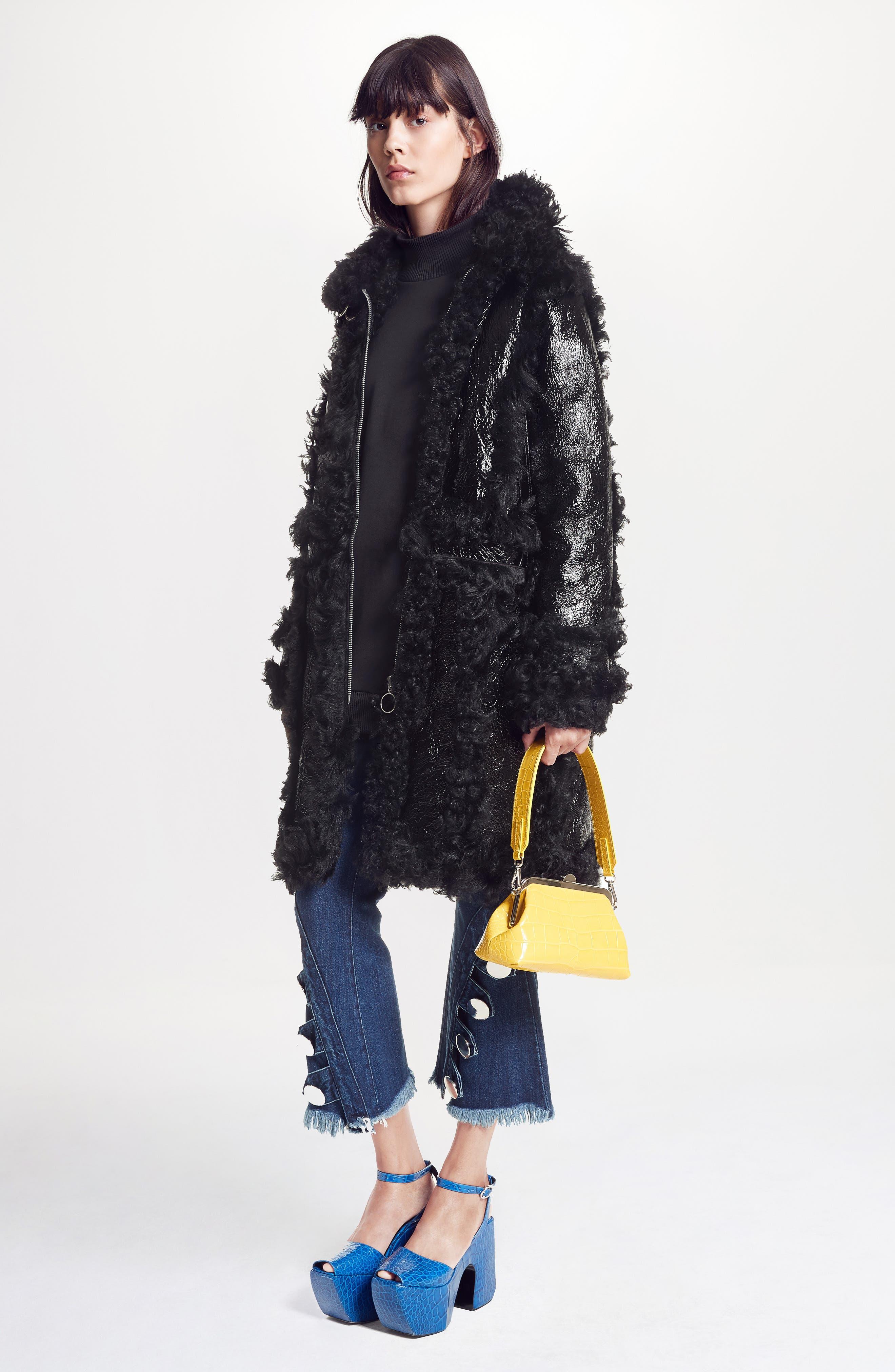 Marques'Almeida Foiled Genuine Shearling Coat,                             Alternate thumbnail 2, color,                             Black/Black