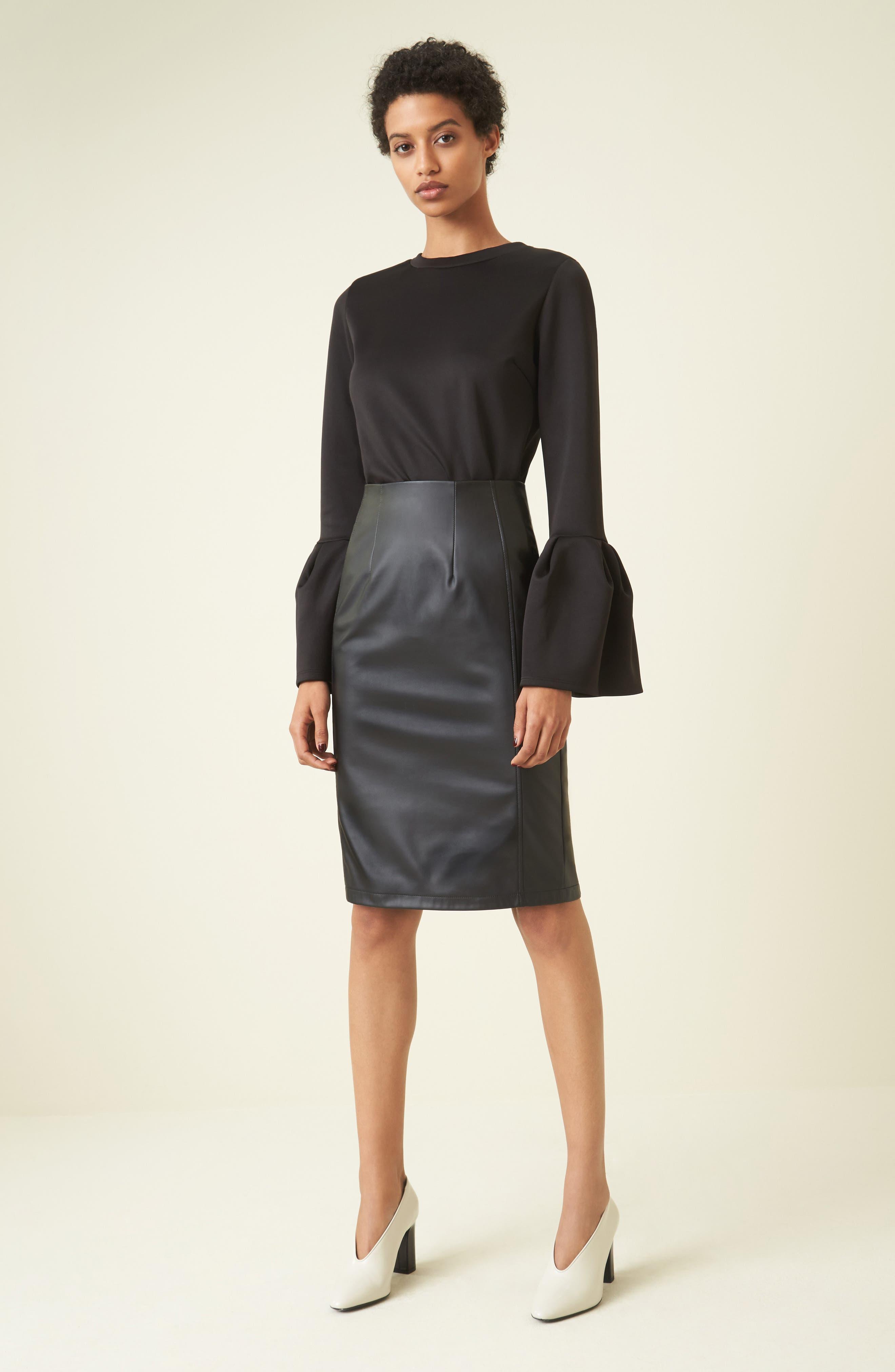 Alternate Image 2  - Halogen® Faux Leather Pencil Skirt (Regular & Petite)