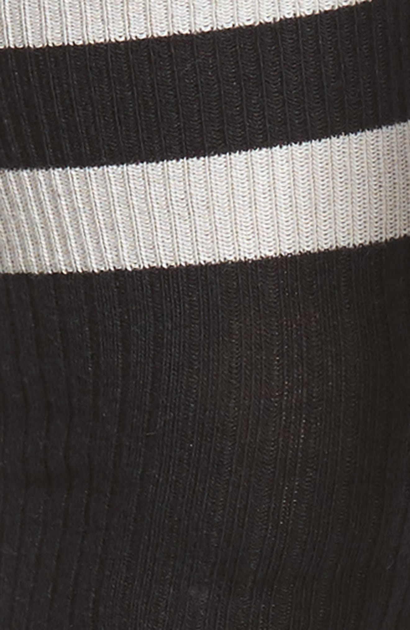 Varsity Stripe Over the Knee Socks,                             Alternate thumbnail 2, color,                             Black Rib