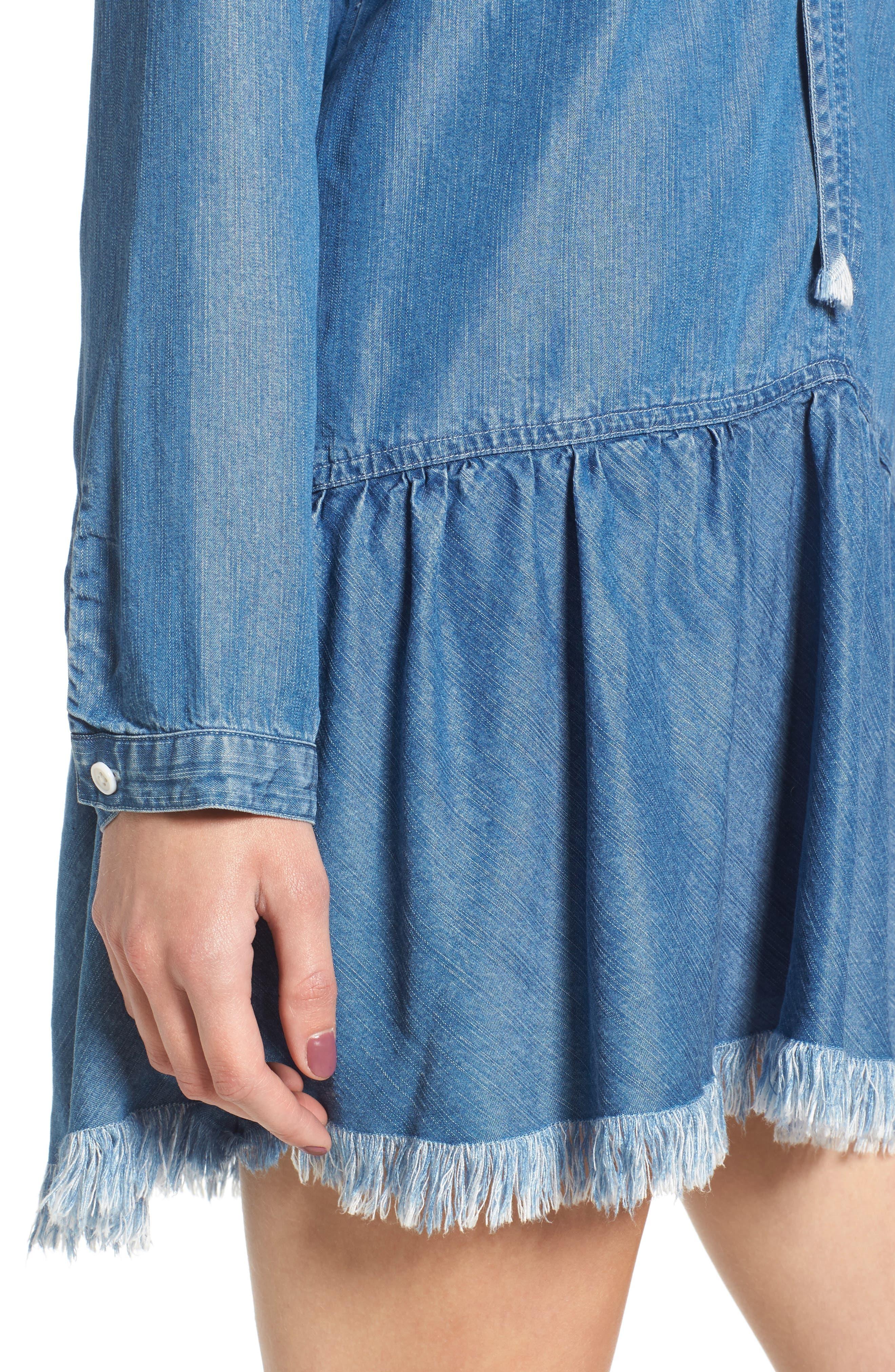 Mel Chambray Tunic Dress,                             Alternate thumbnail 5, color,                             Medium Vintage Wash