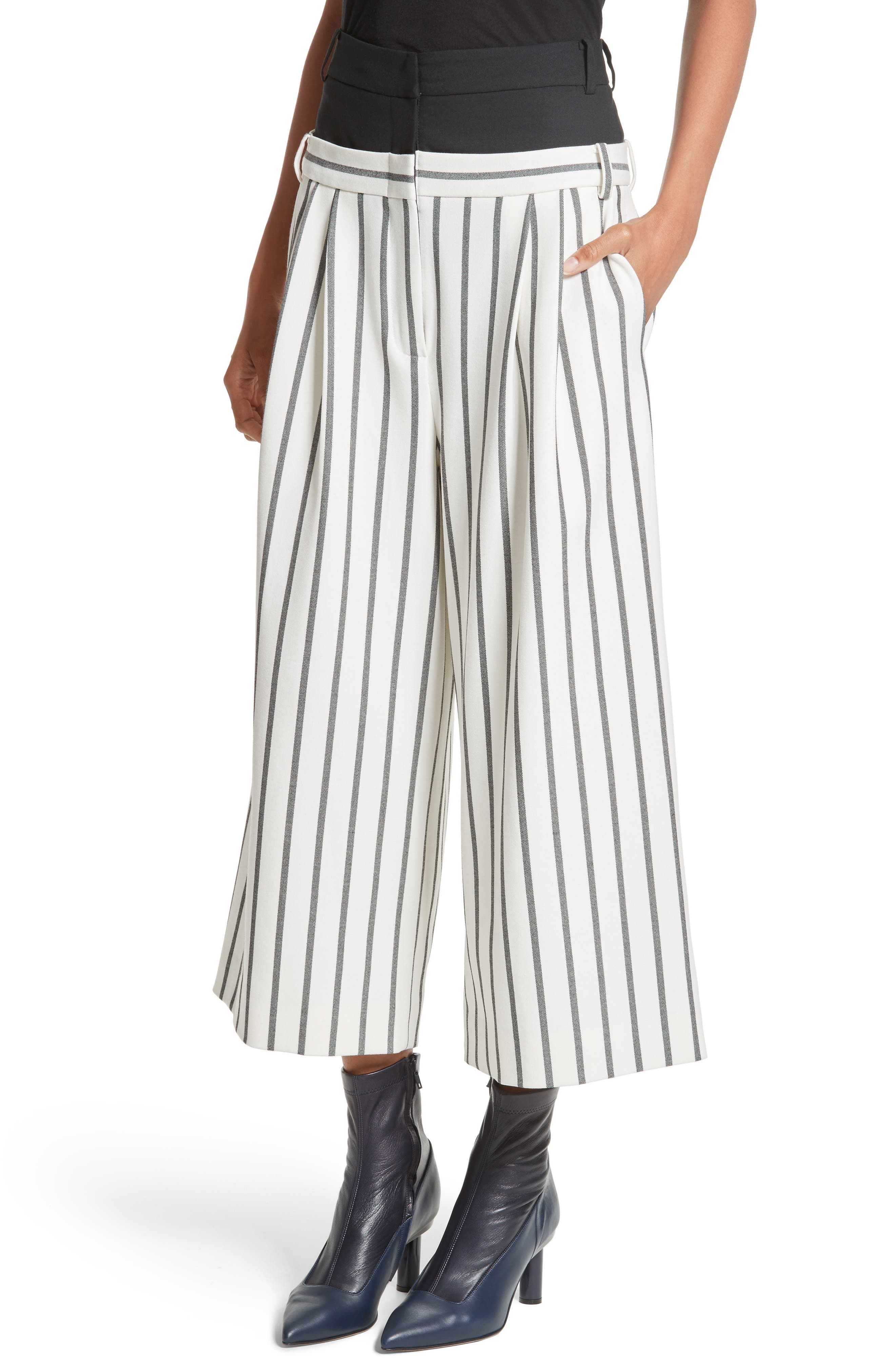Alternate Image 4  - Tibi Lucci Stripe Crop Wide Leg Pants