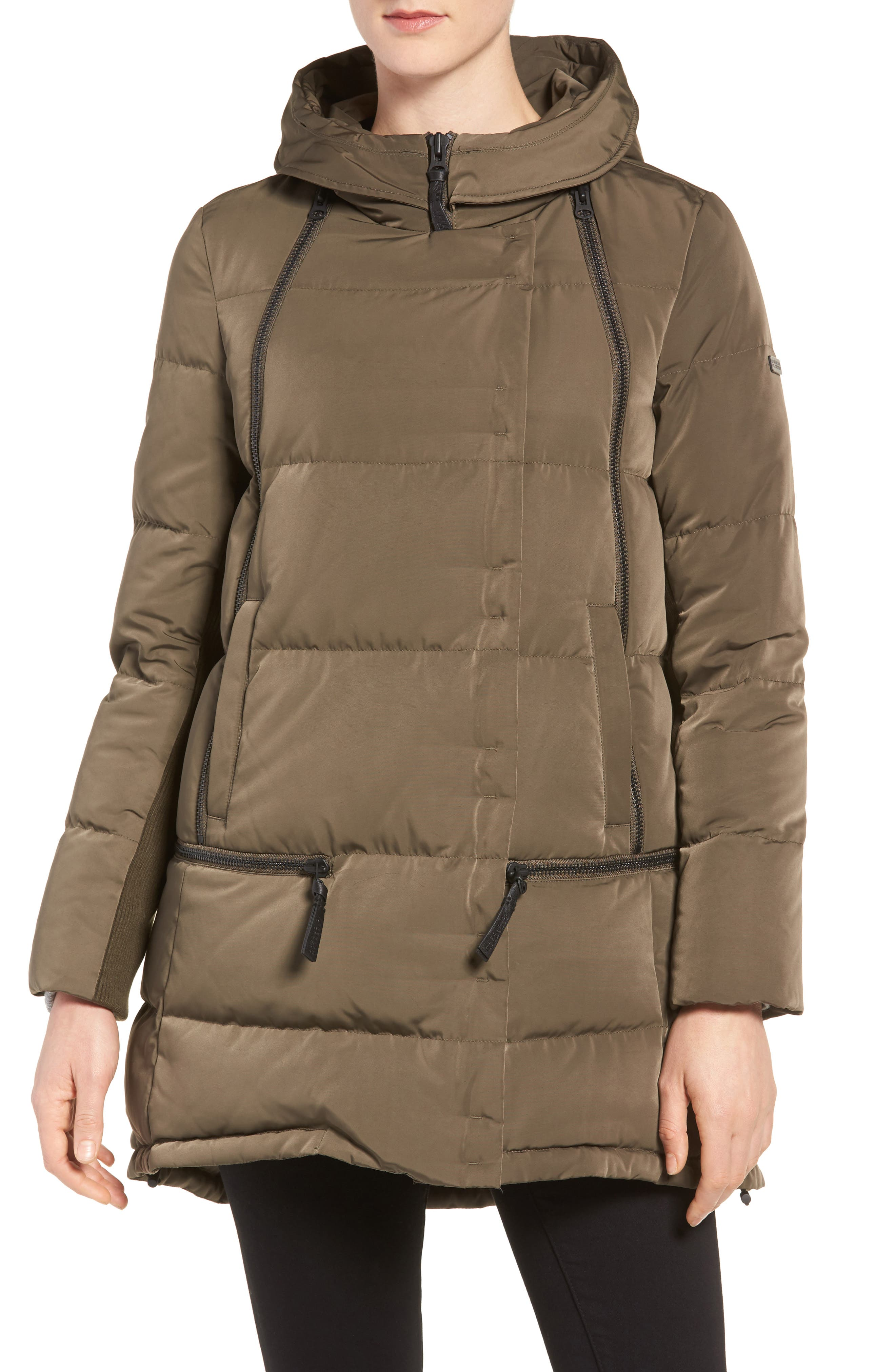 Relaxed Water Resistant Down Parka with Genuine Fox Fur Trim,                             Alternate thumbnail 4, color,                             Loden