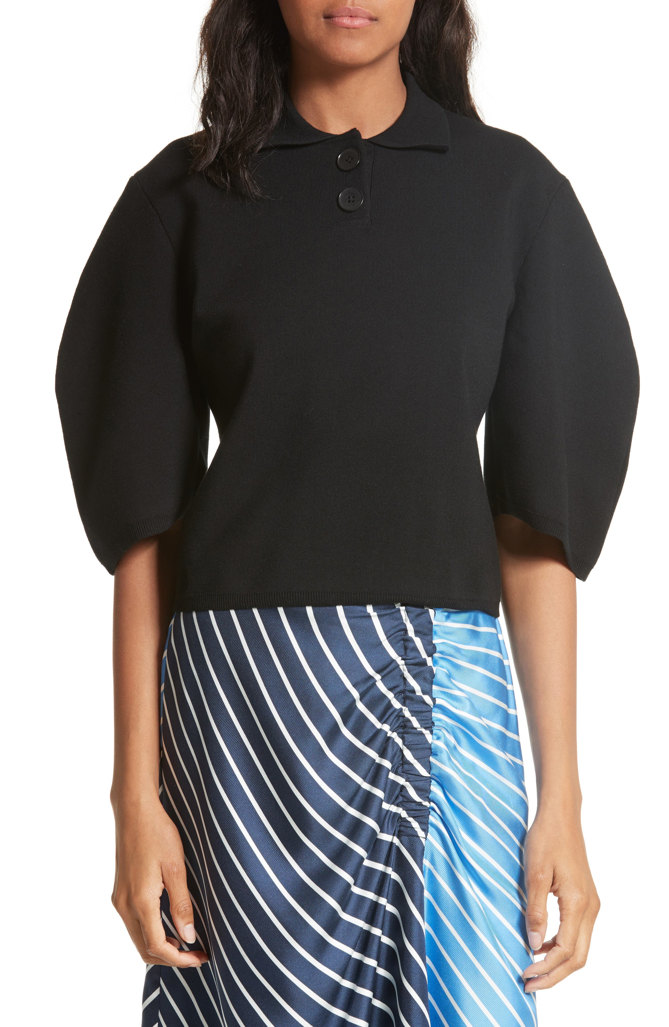 Sculpted Sleeve Wool Blend Polo Sweater,                             Main thumbnail 1, color,                             Black