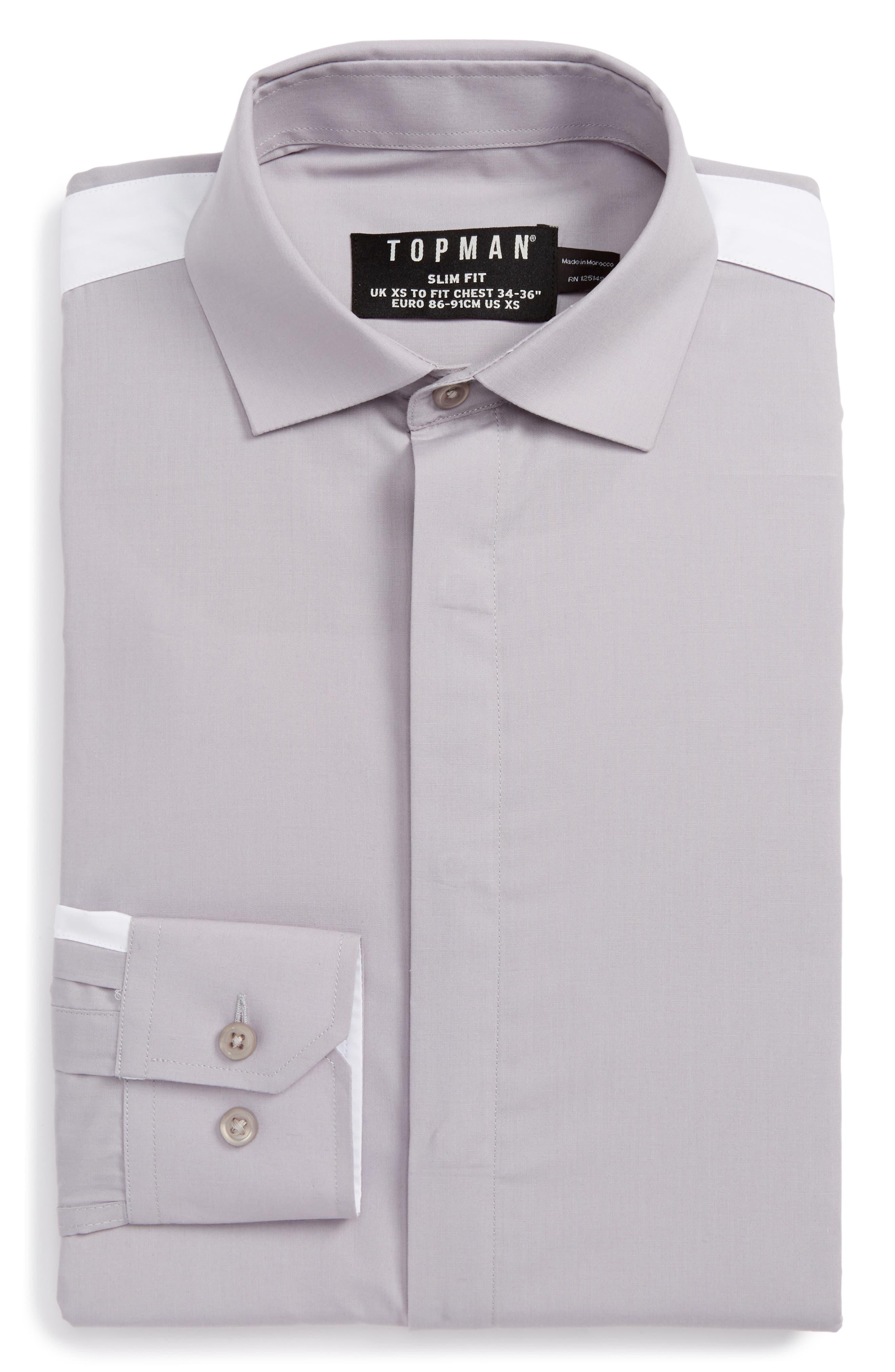 Topman Slim Fit Contrast Stripe Woven Shirt