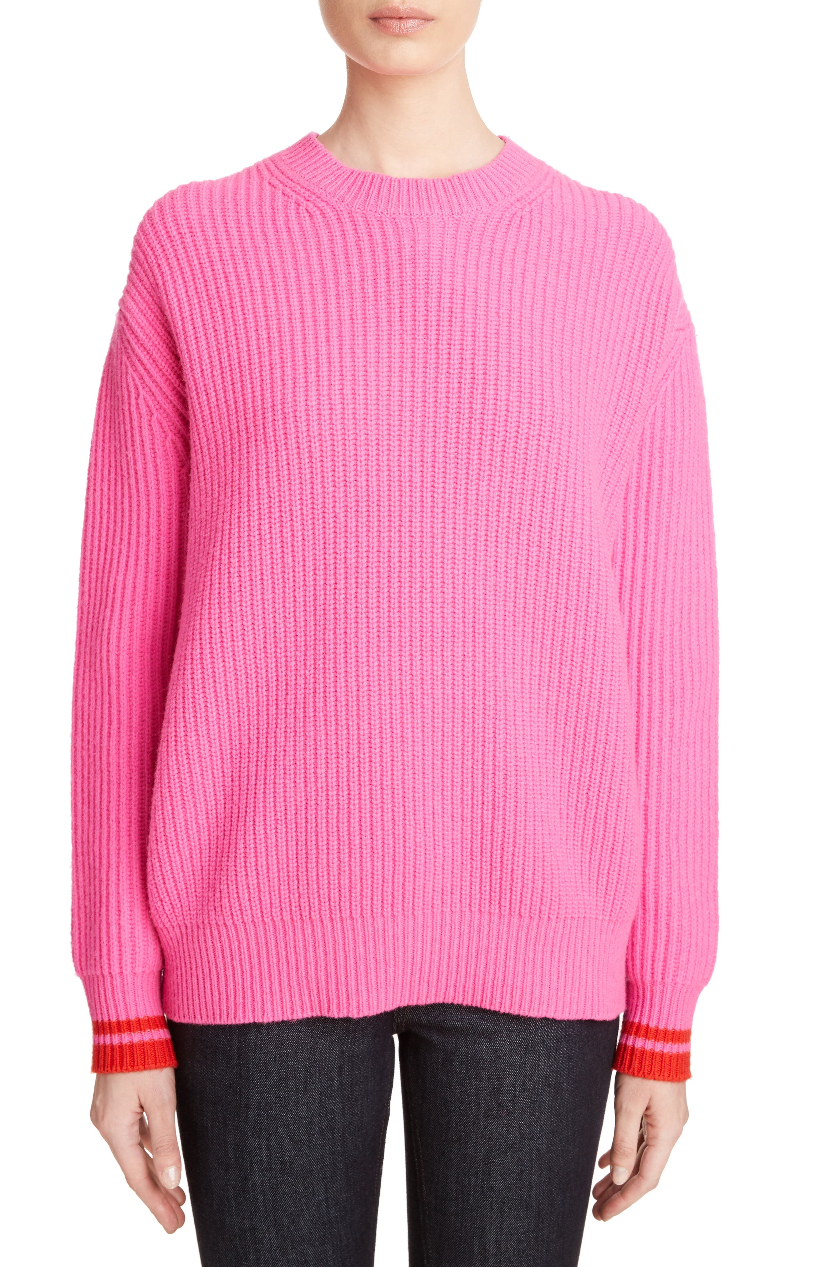 Lambswool Boyfriend Sweater,                         Main,                         color, Neon Pink/ Postbox Red